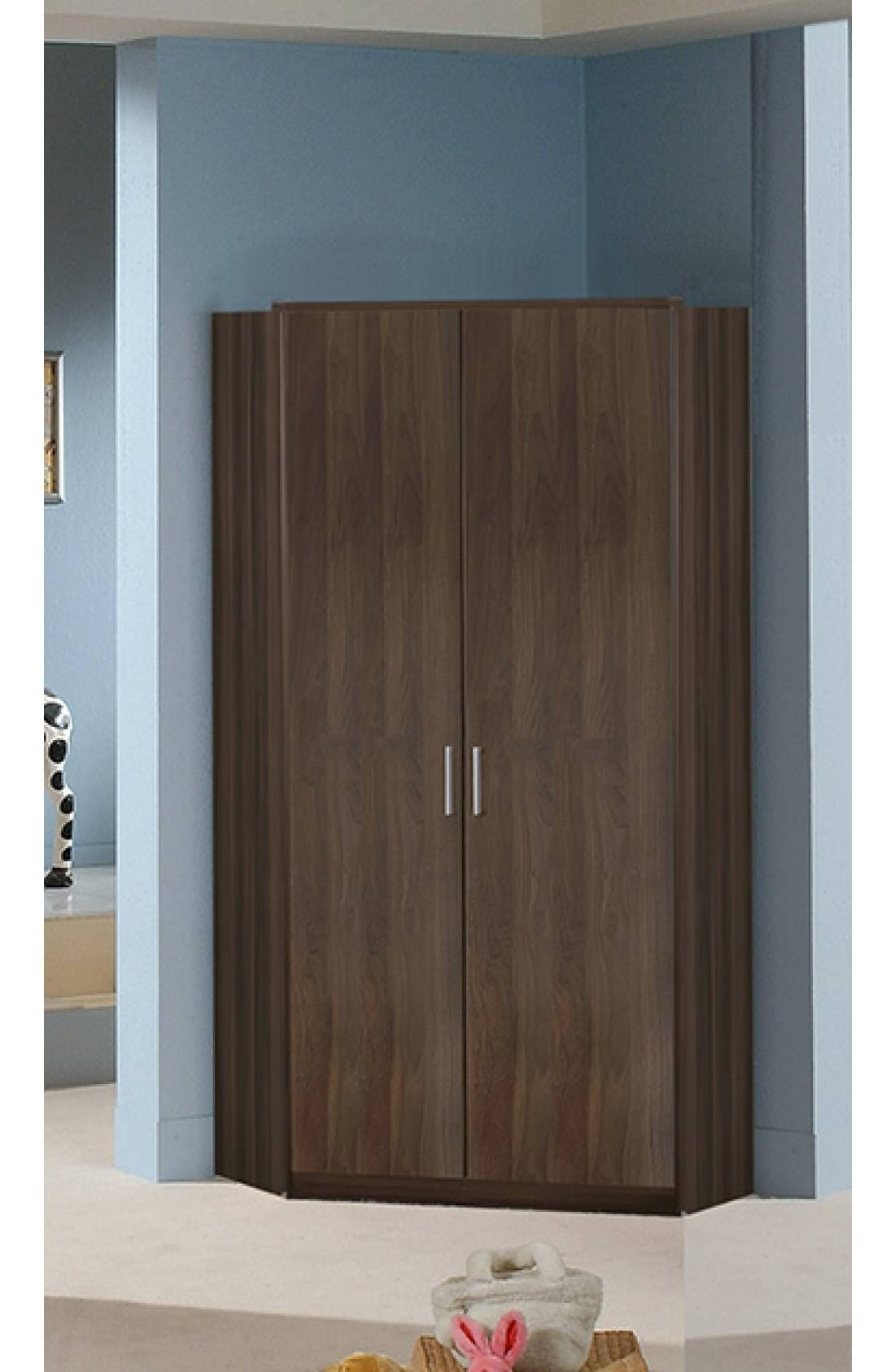 Slumberhaus 'berlin' German Made Modern Walnut 2 Door Corner Wardrobe With Regard To 2 Door Corner Wardrobes (View 10 of 15)