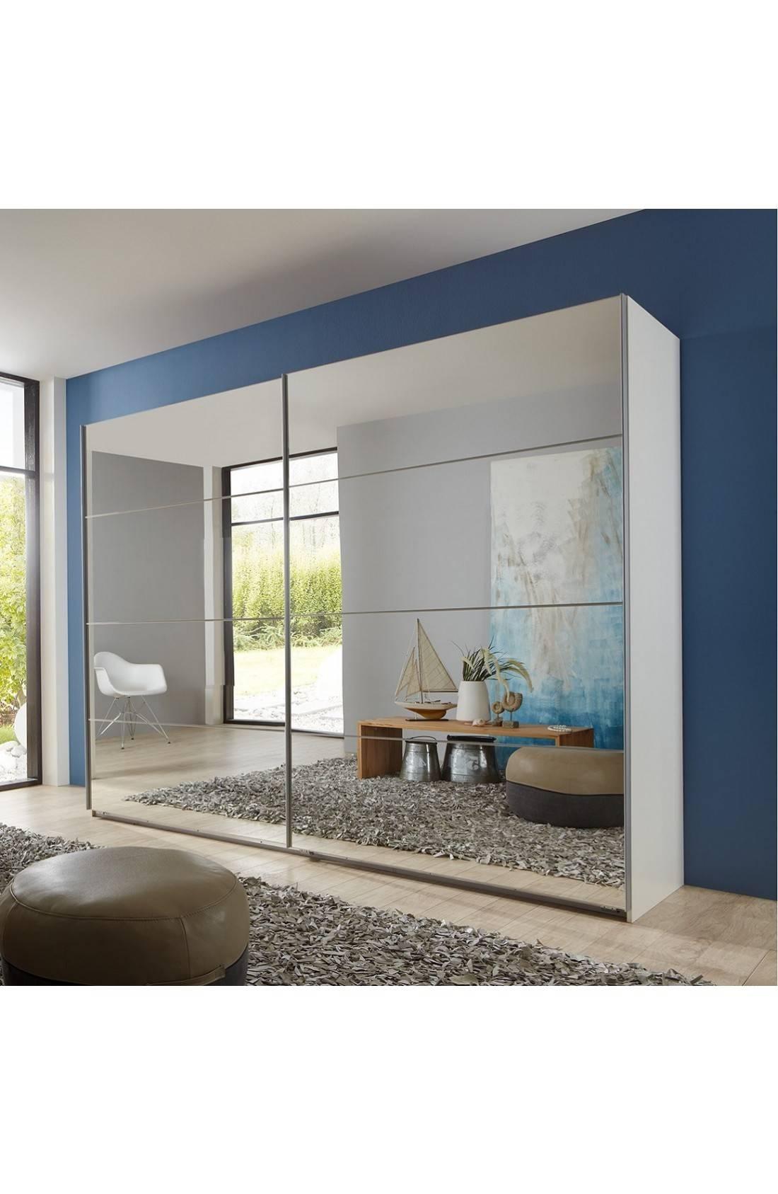 Slumberhaus 'eleganz' German Made Modern White & Full Mirror throughout Wardrobes With Mirror (Image 11 of 15)