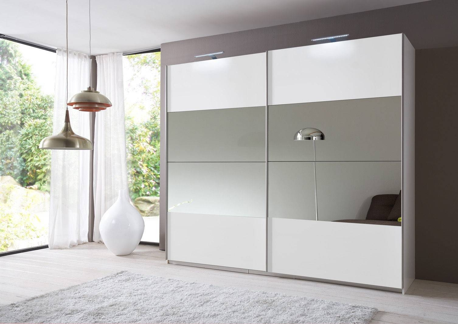 Slumberhaus 'eleganz' German Made Modern White & Mirror Sliding within White Mirrored Wardrobes (Image 10 of 15)
