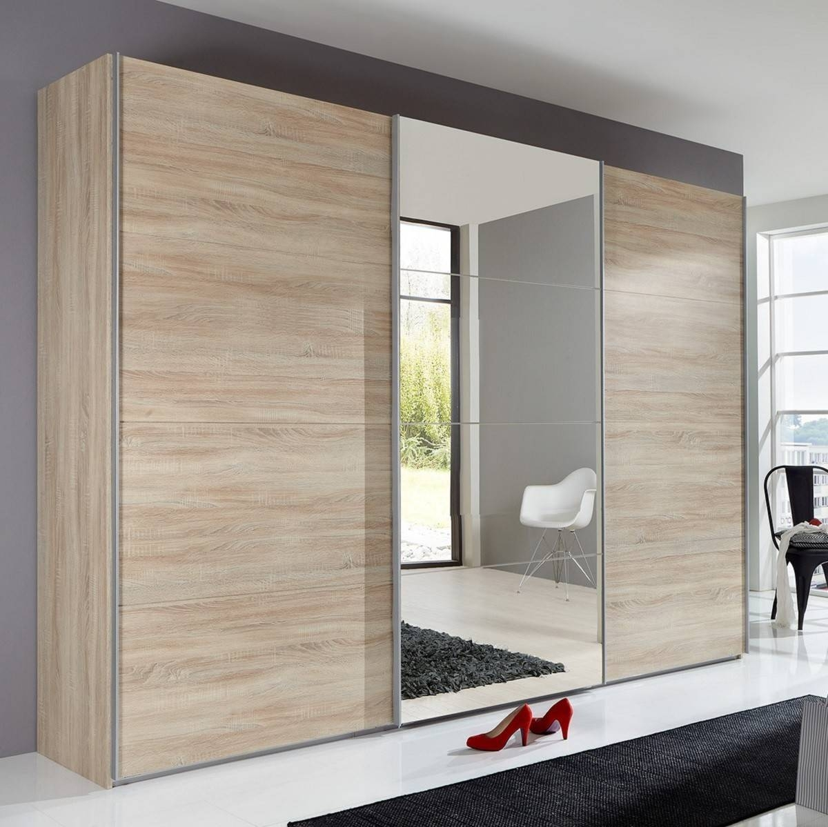 Slumberhaus 'ernie' German Made Modern 270Cm Oak & Mirror 3 Door for 3 Doors Wardrobes With Mirror (Image 13 of 15)