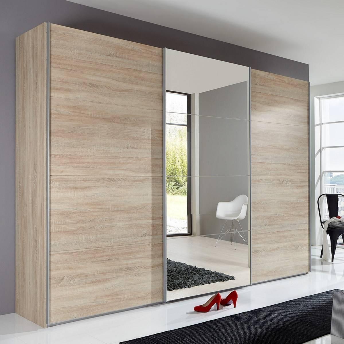 Slumberhaus 'ernie' German Made Modern 270Cm Oak & Mirror 3 Door regarding Oak 3 Door Wardrobes (Image 12 of 15)