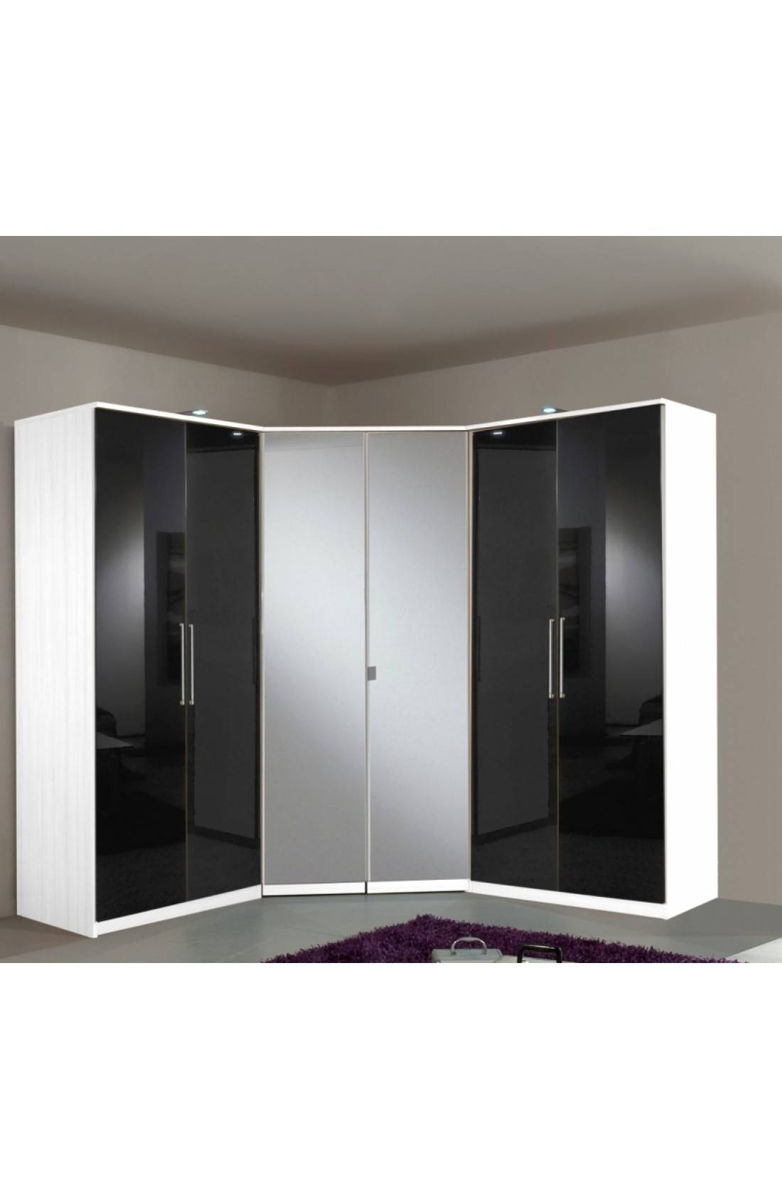 Slumberhaus 'gamma' 6 Door Corner Wardrobe Fitment With White With Black Gloss Mirror Wardrobes (Photo 5 of 15)