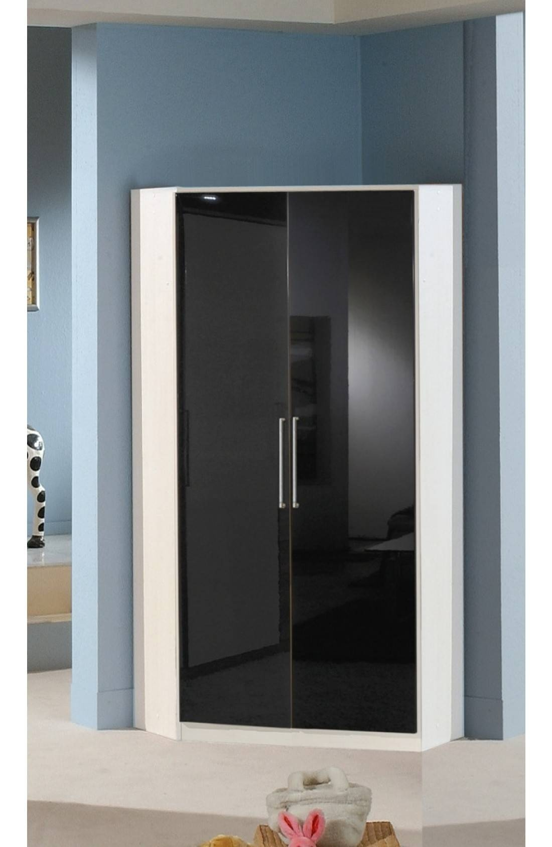 Slumberhaus 'gamma' German Made Modern White & Black Gloss 2 Door Throughout 2 Door Corner Wardrobes (View 11 of 15)