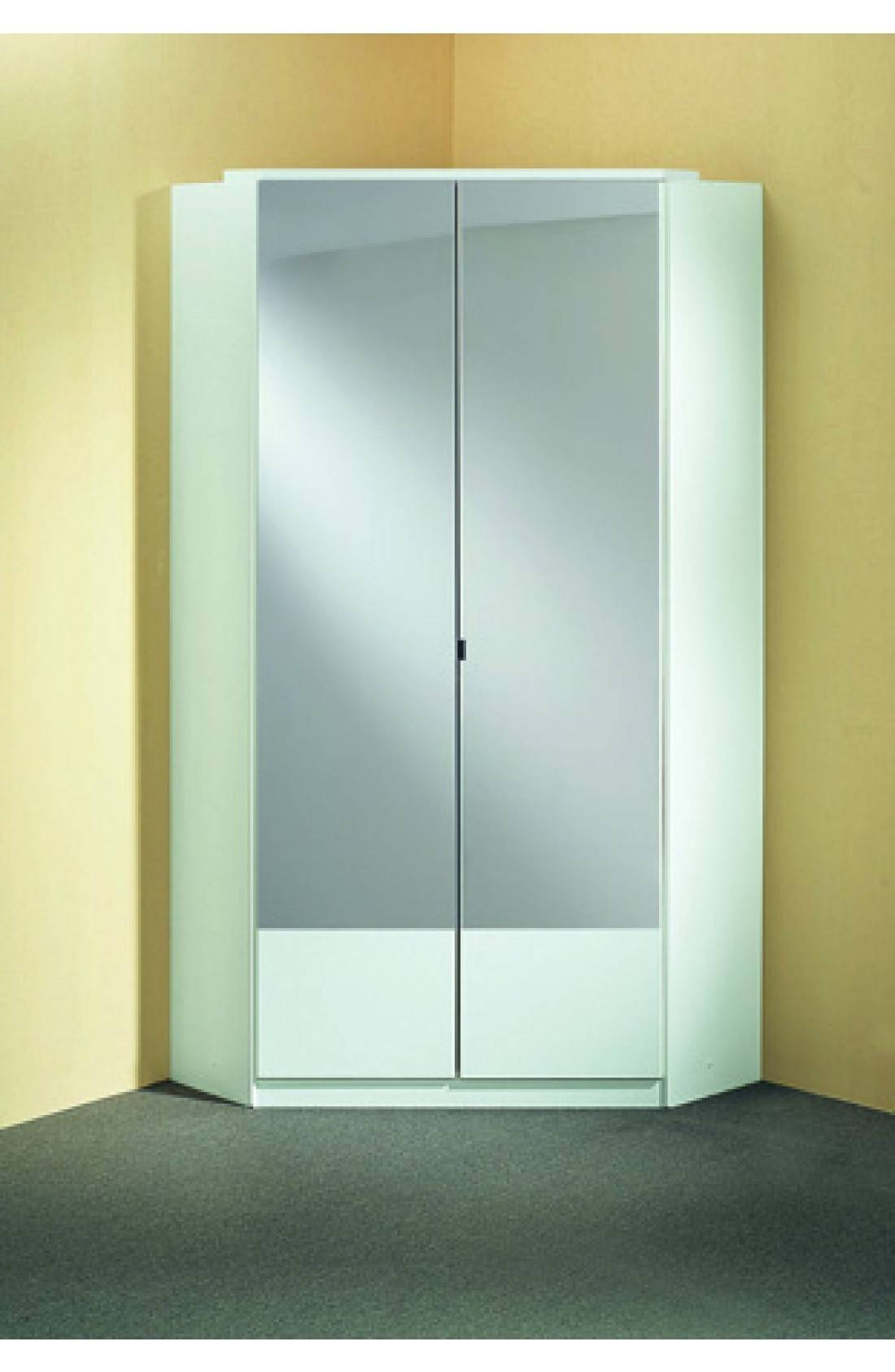 Slumberhaus 'imago' German Made Modern Alpine White & Mirror 2 inside Corner Mirrored Wardrobes (Image 13 of 15)