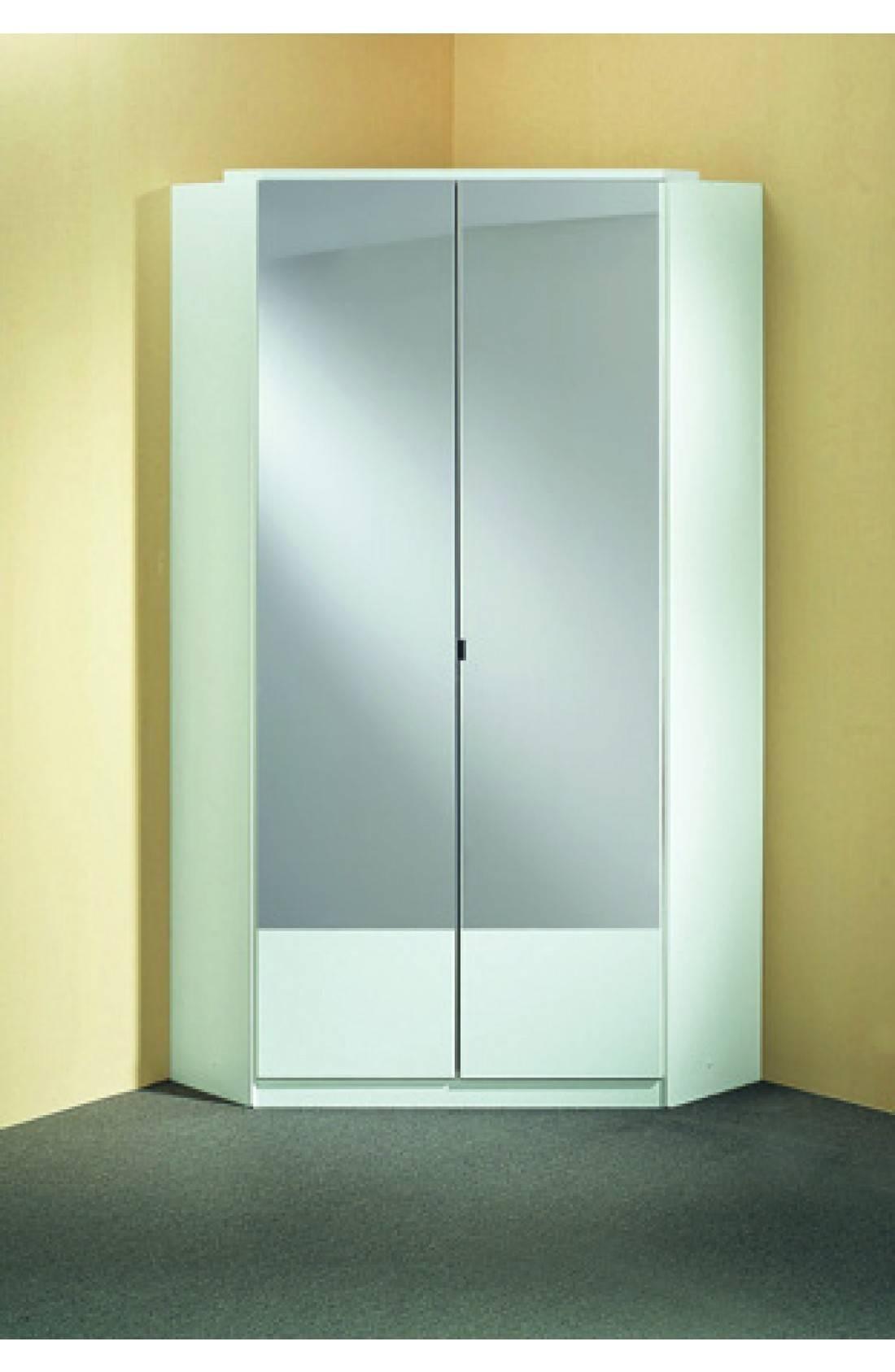 Slumberhaus 'imago' German Made Modern Alpine White & Mirror 2 Inside Corner Mirrored Wardrobes (View 2 of 15)