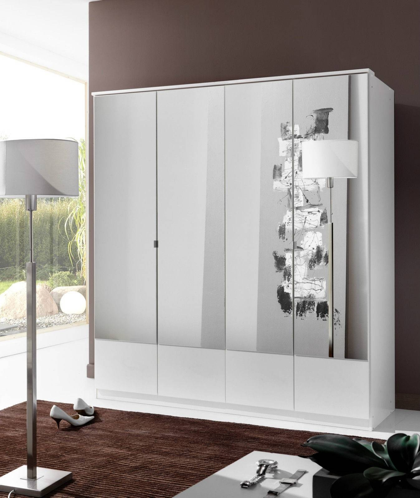 Slumberhaus 'imago' German Made Modern Alpine White & Mirror 4 with regard to 3 Door White Wardrobes (Image 21 of 30)