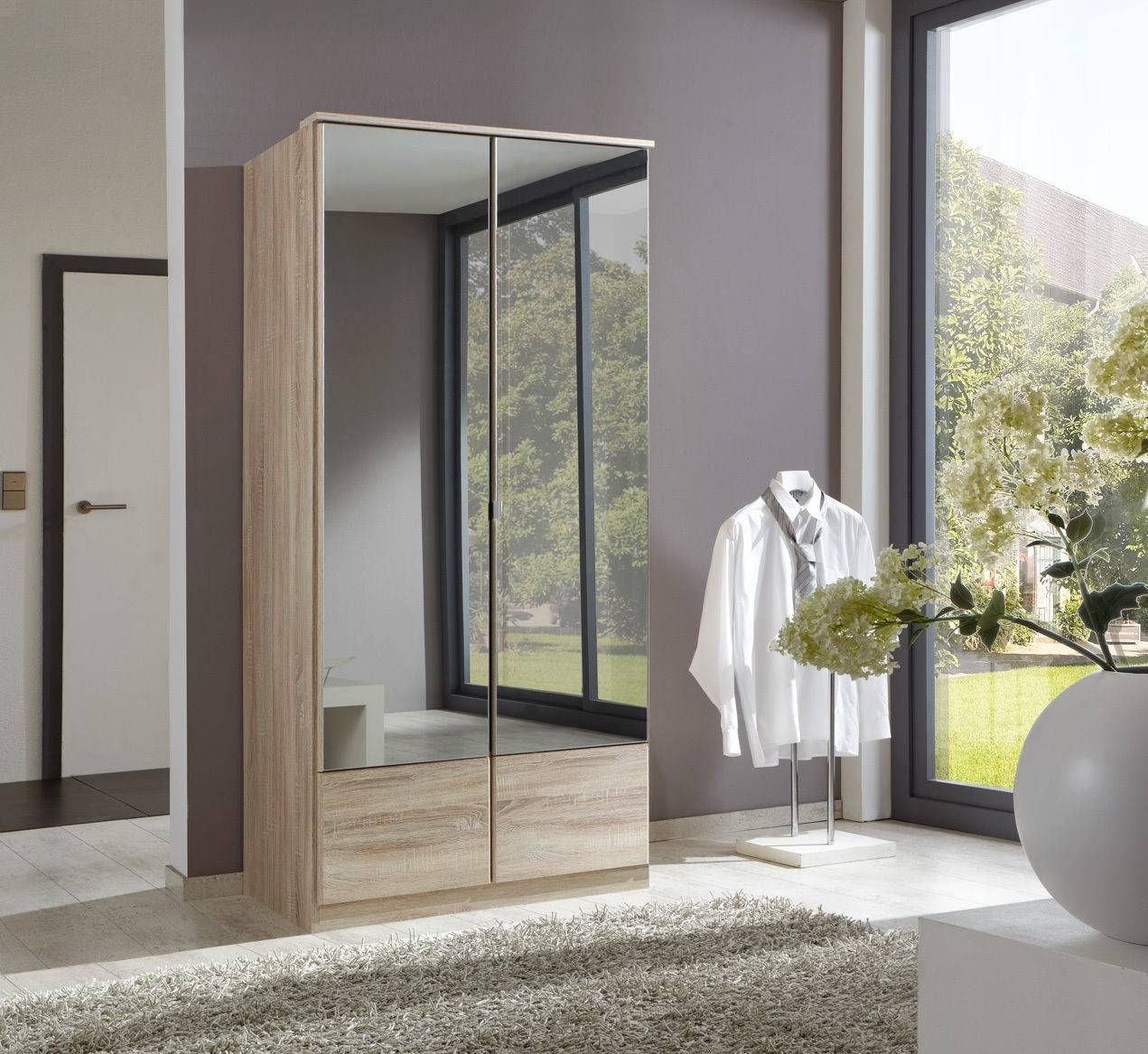 Slumberhaus 'imago' German Made Modern Light Oak & Mirror 2 Door with Oak Mirrored Wardrobes (Image 14 of 15)