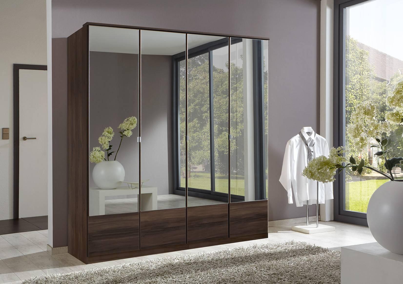 Slumberhaus 'imago' German Made Modern Walnut & Mirror 4 Door in 4 Door Mirrored Wardrobes (Image 14 of 15)