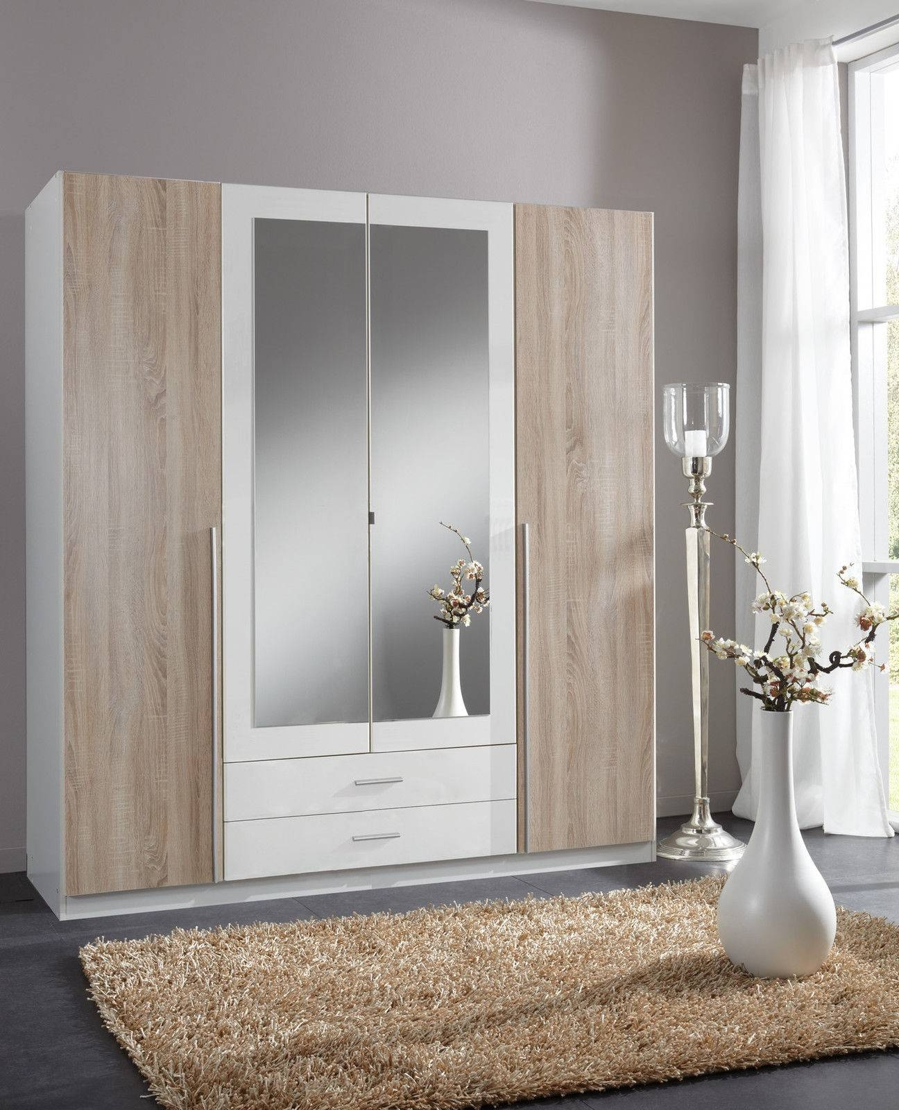Slumberhaus 'skate' German Made Modern Alpine White, Oak And inside Oak Mirrored Wardrobes (Image 15 of 15)