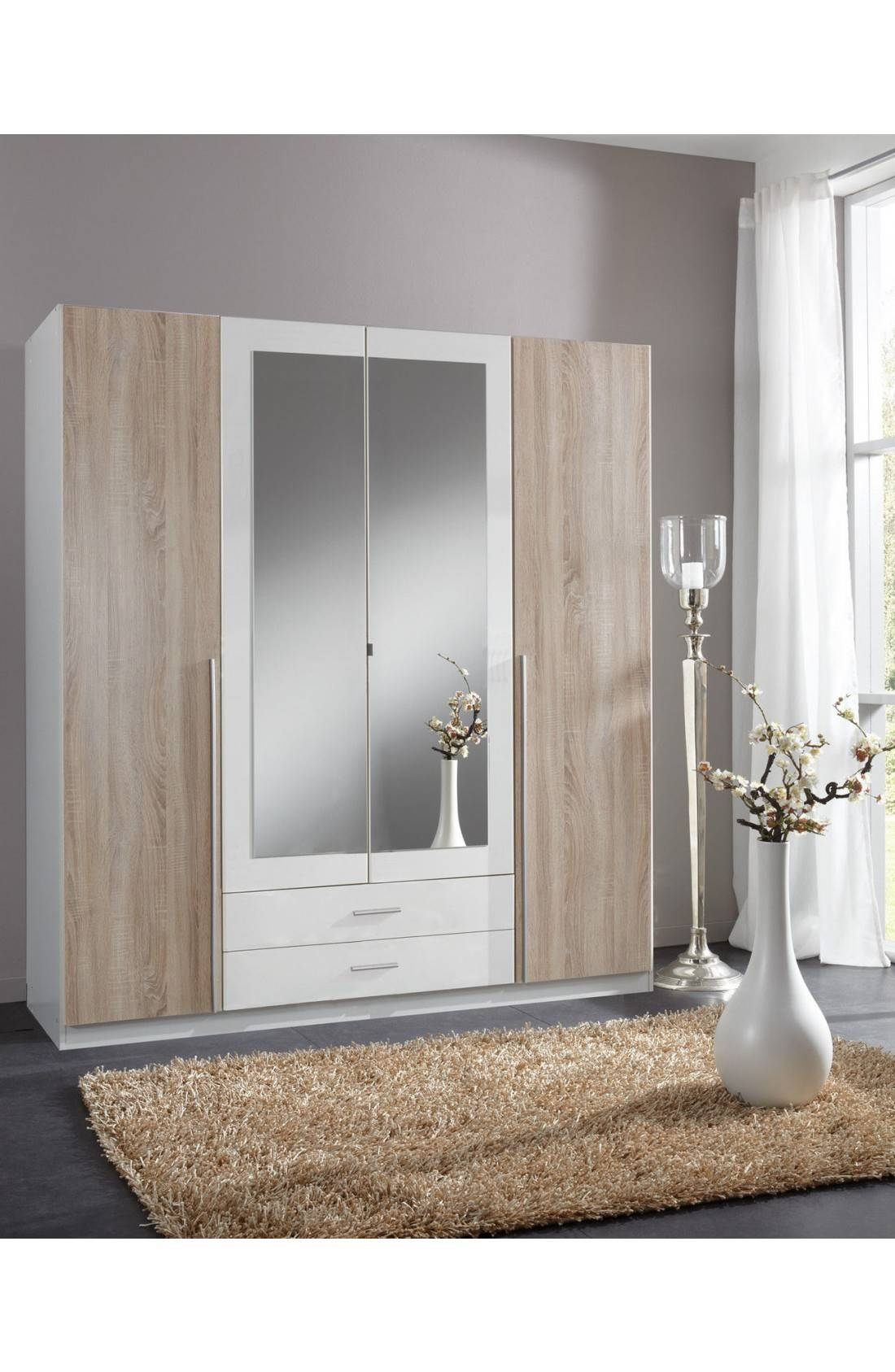 Slumberhaus 'skate' German Made Modern Alpine White, Oak And intended for Oak and White Wardrobes (Image 15 of 15)