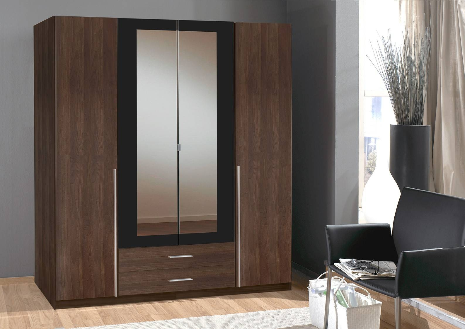 Slumberhaus 'skate' German Made Modern Walnut, Black And Mirror 4 regarding Black Wardrobes With Mirror (Image 14 of 15)