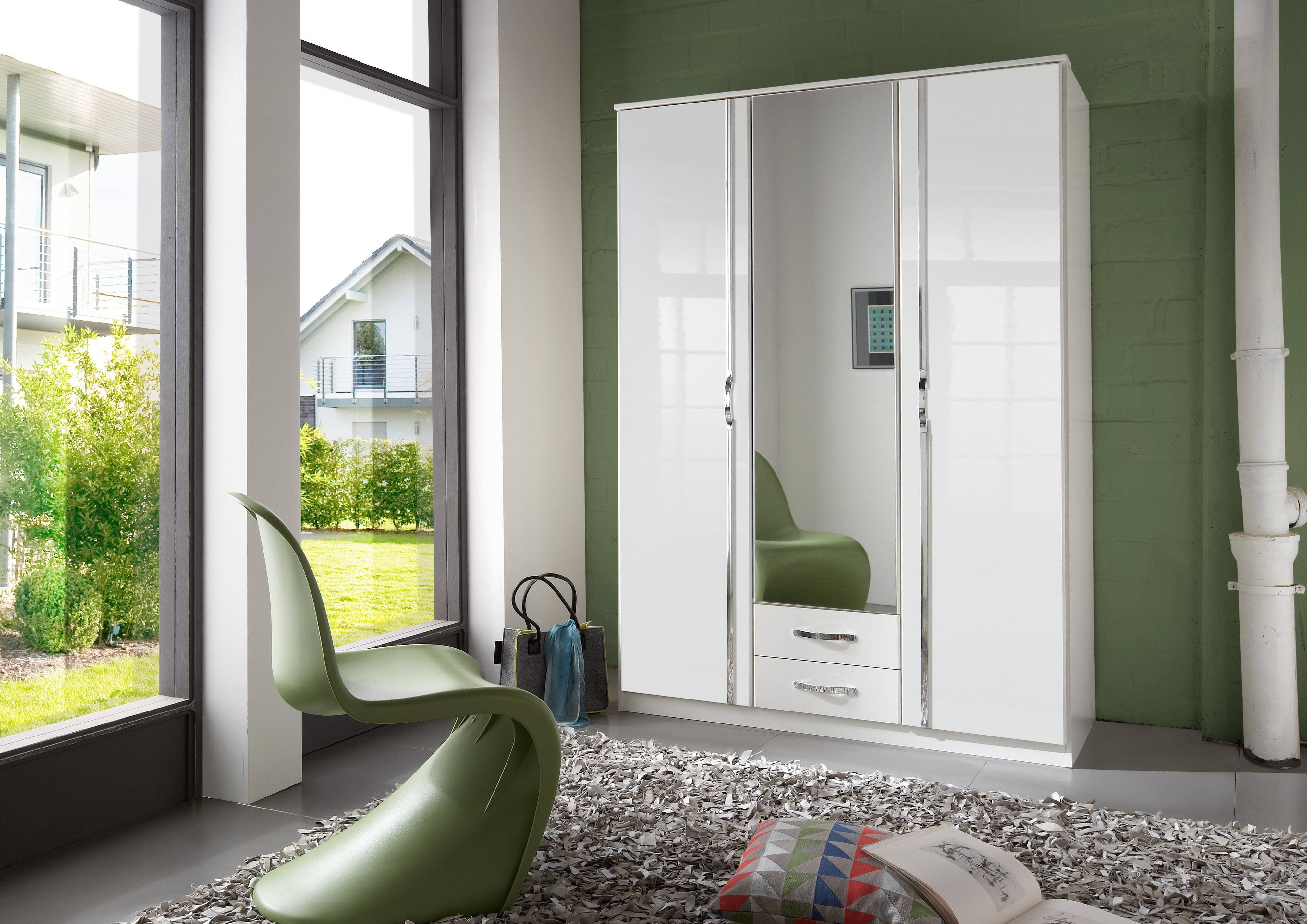 Slumberhaus 'trio' White Gloss, Chrome & Mirror 3 Door 2 Drawer in White 3 Door Wardrobes With Mirror (Image 13 of 15)