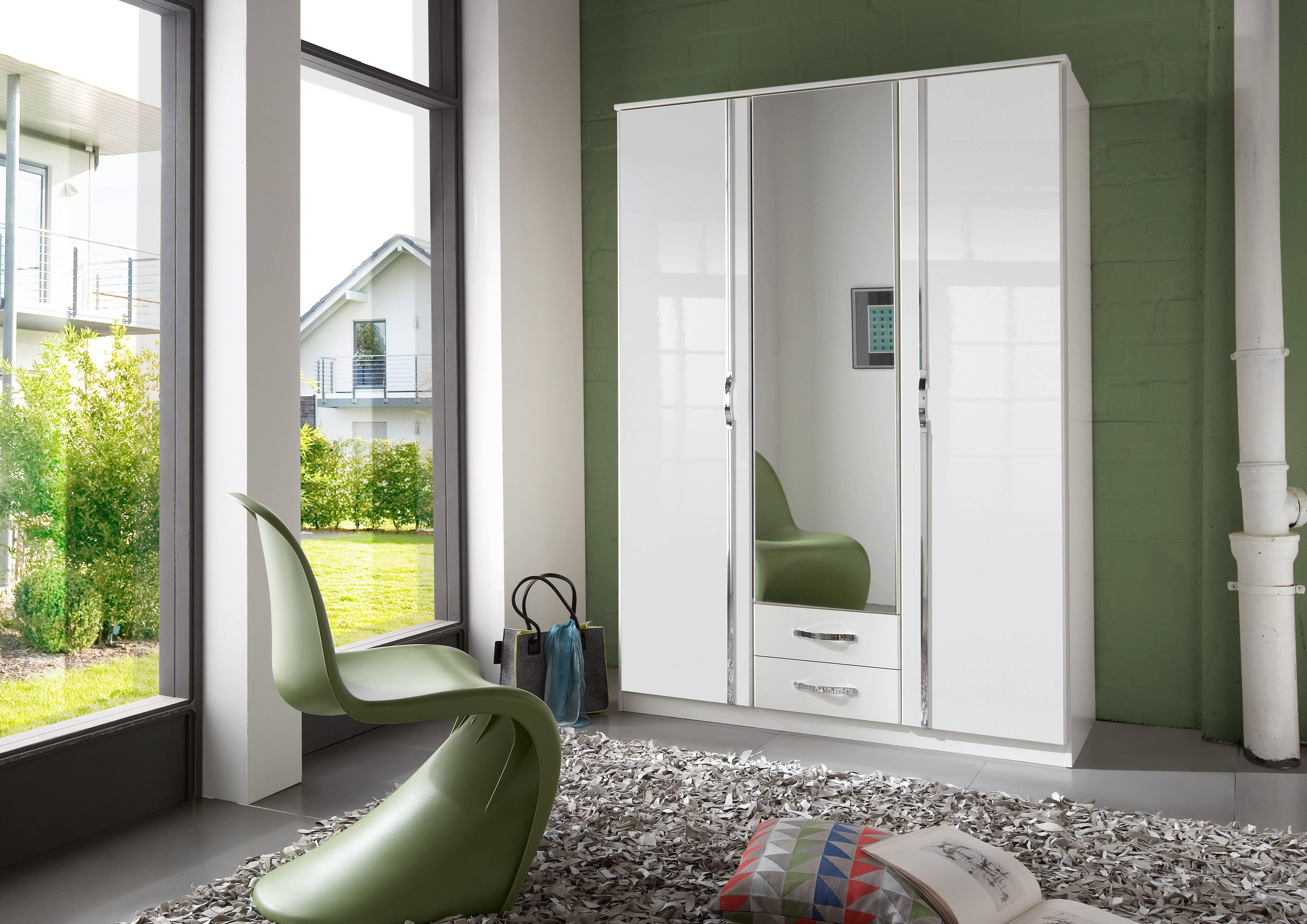 Slumberhaus 'trio' White Gloss, Chrome & Mirror 3 Door 2 Drawer inside High Gloss Doors Wardrobes (Image 14 of 15)