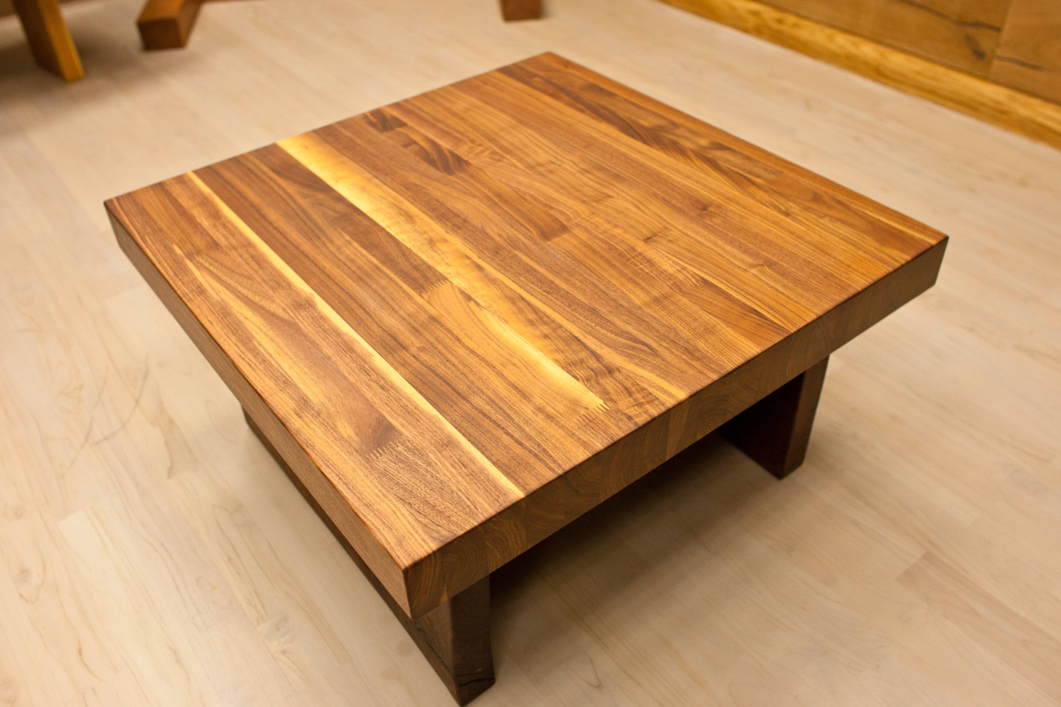 Small And Low Square Wooden Butcher Block Coffee Table For Small for Big Low Coffee Tables (Image 29 of 30)