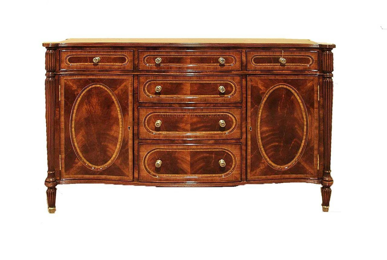 Small Antique Mahogany Dining Room Sideboard Buffet Replica with regard to Narrow Sideboards (Image 29 of 30)