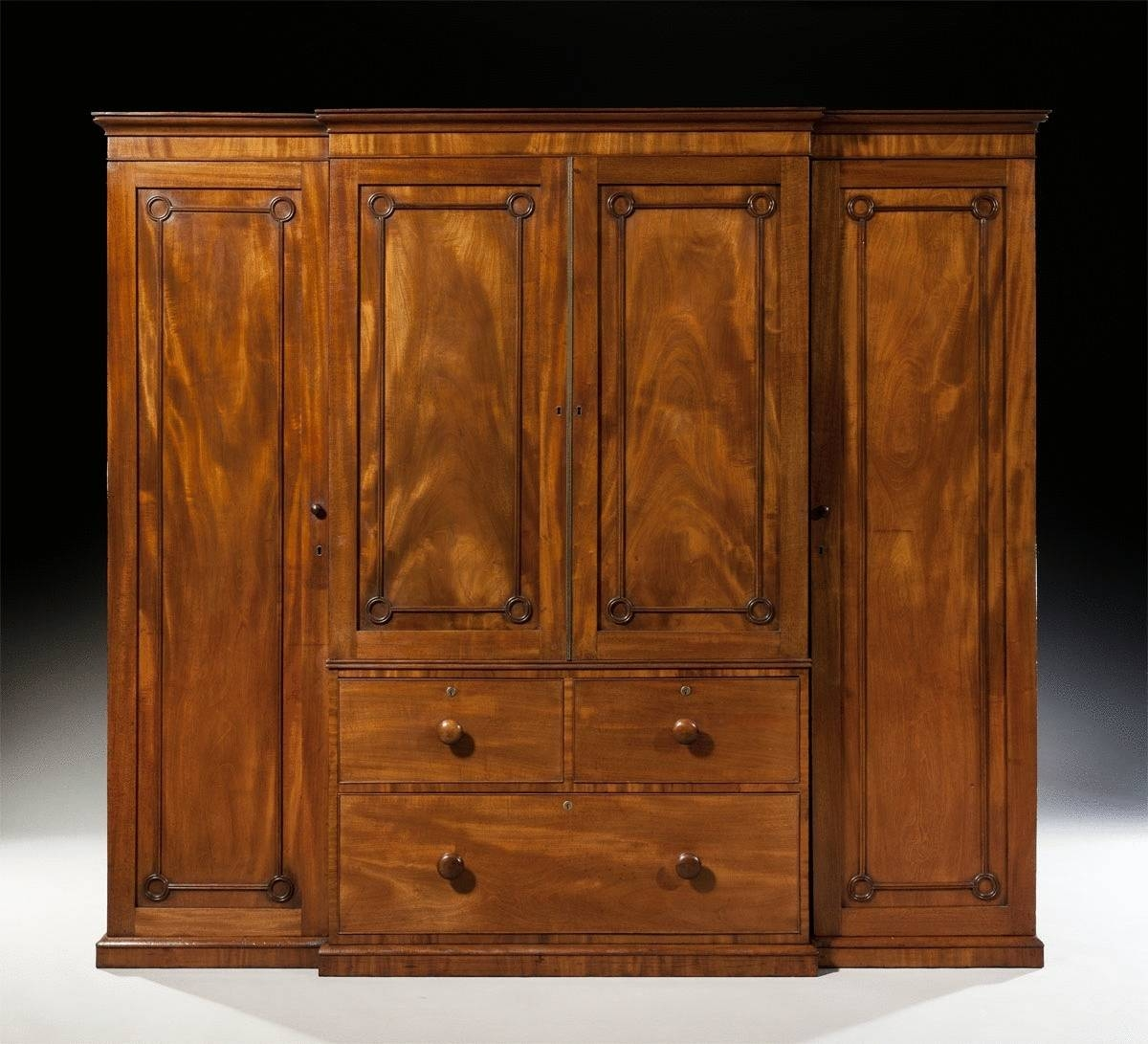 Small Antique Regency Breakfront Mahogany Gentleman's Wardrobe (C intended for Antique Breakfront Wardrobe (Image 22 of 30)