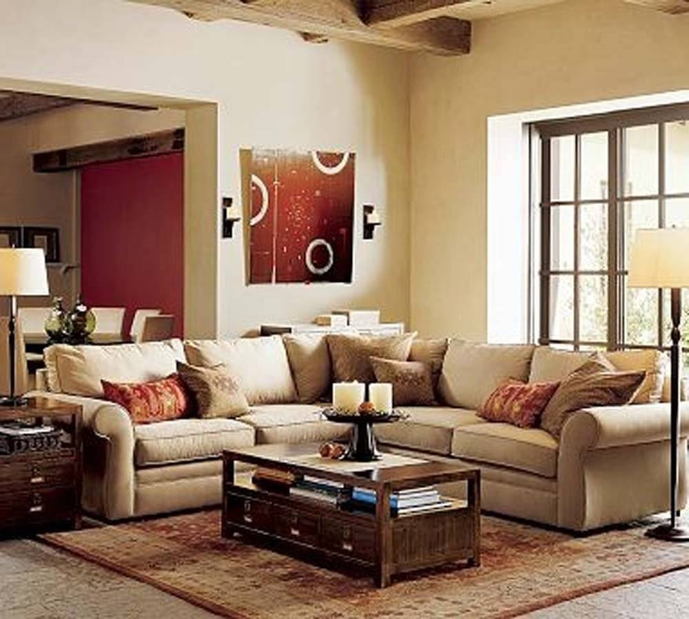 Small Apartment Living Room Ideas Cream Fabric U Shaped Sectional throughout Chintz Fabric Sofas (Image 28 of 30)