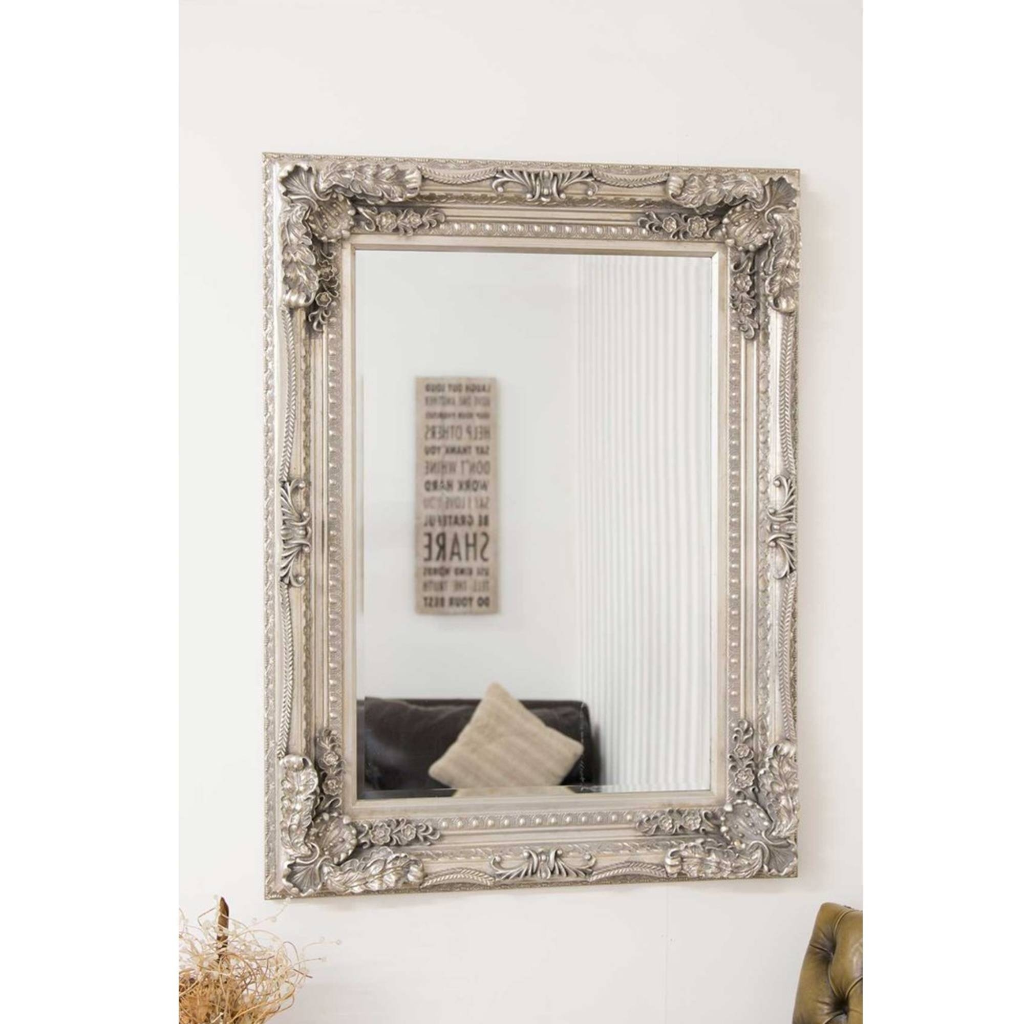 Small Carved Silver Louis Antique French Style Mirror | Decorative regarding Silver French Mirrors (Image 24 of 25)