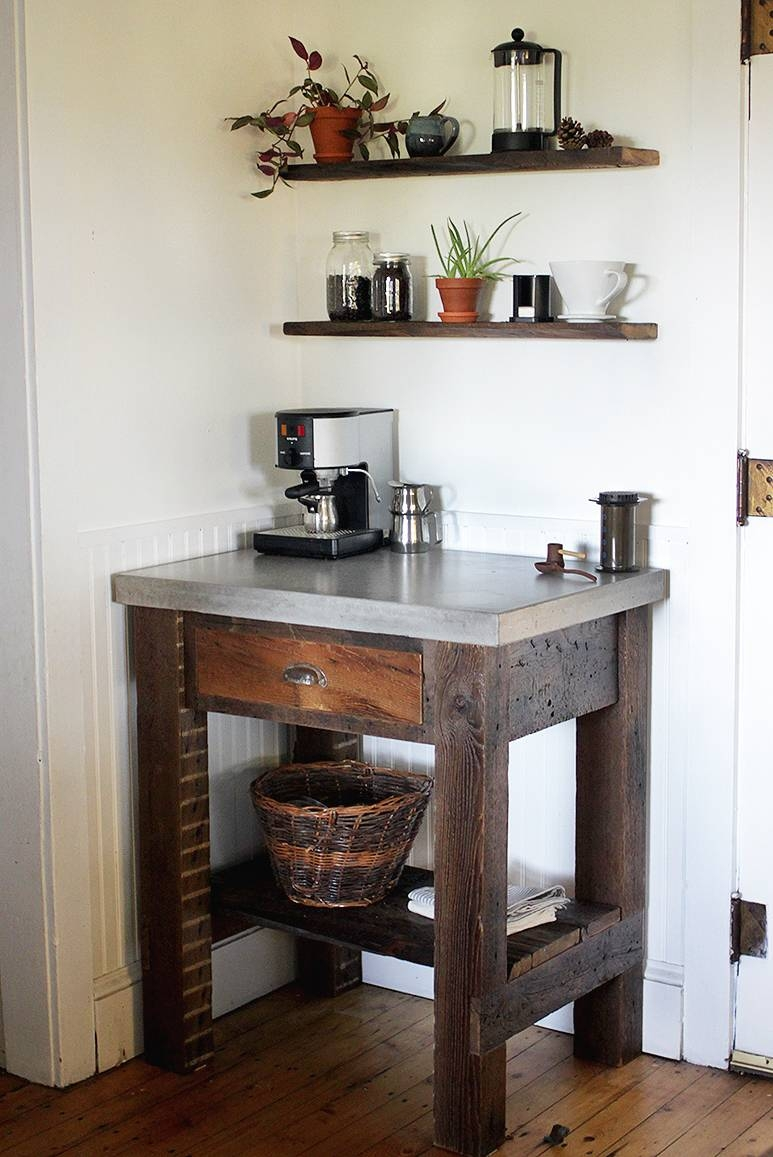 Small Corner Coffee Station Table With Stainless Steel Countertop throughout Corner Coffee Tables (Image 29 of 30)