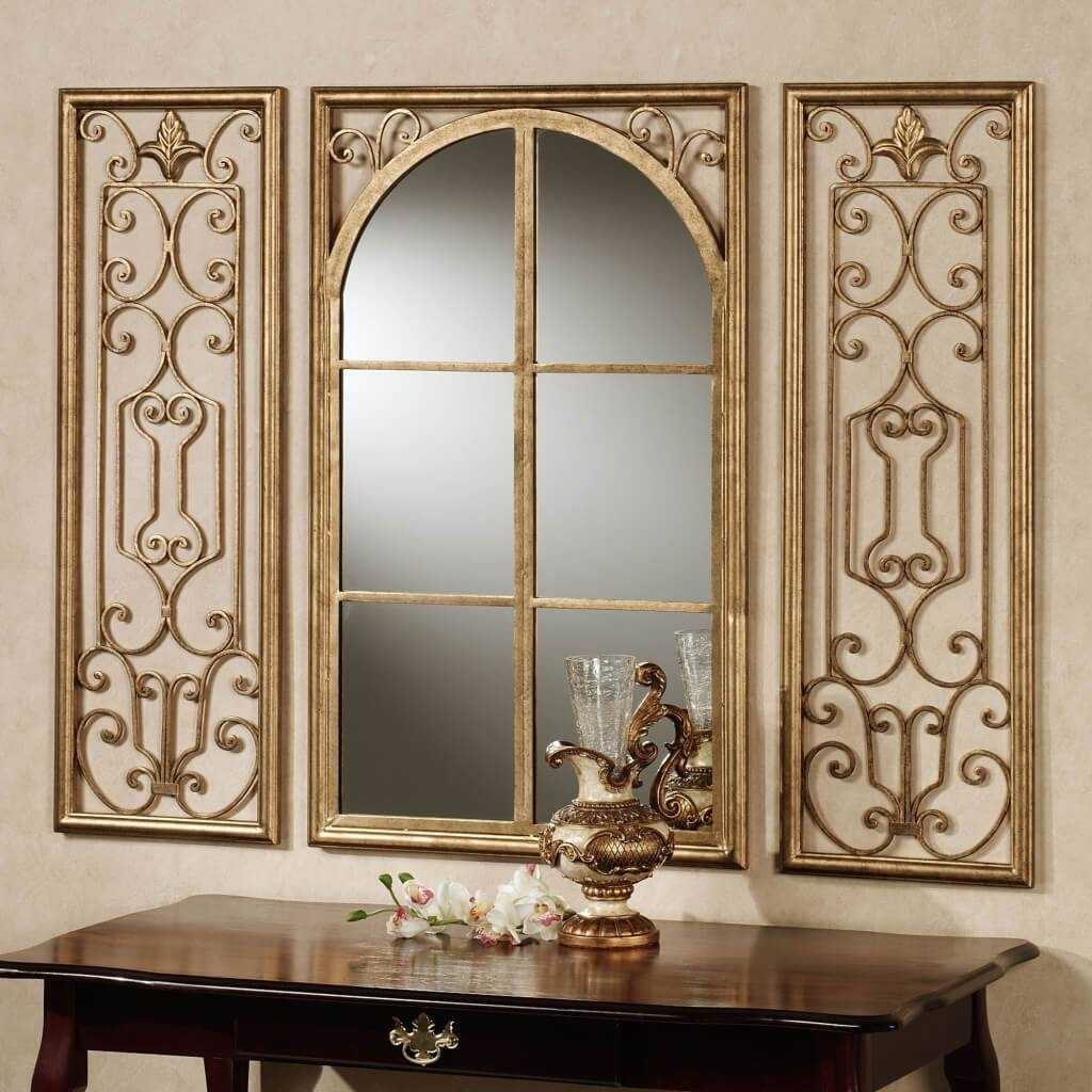Small Decorative Wall Mirrors Wood Frame : Small Decorative Wall in Black Wrought Iron Mirrors (Image 18 of 25)