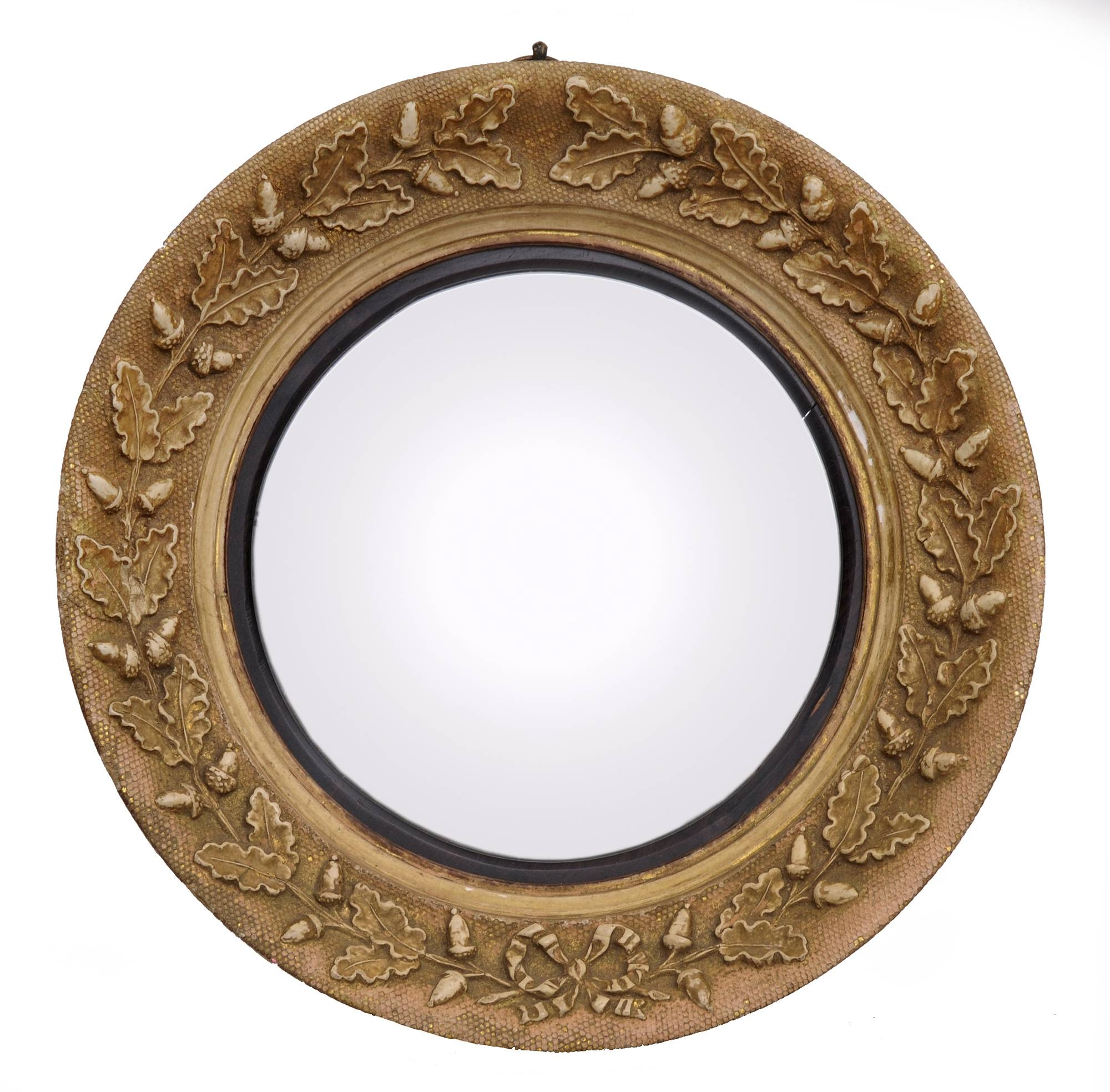 Small English Giltwood Antique Convex Mirror With Acorns in Small Convex Mirrors (Image 22 of 25)