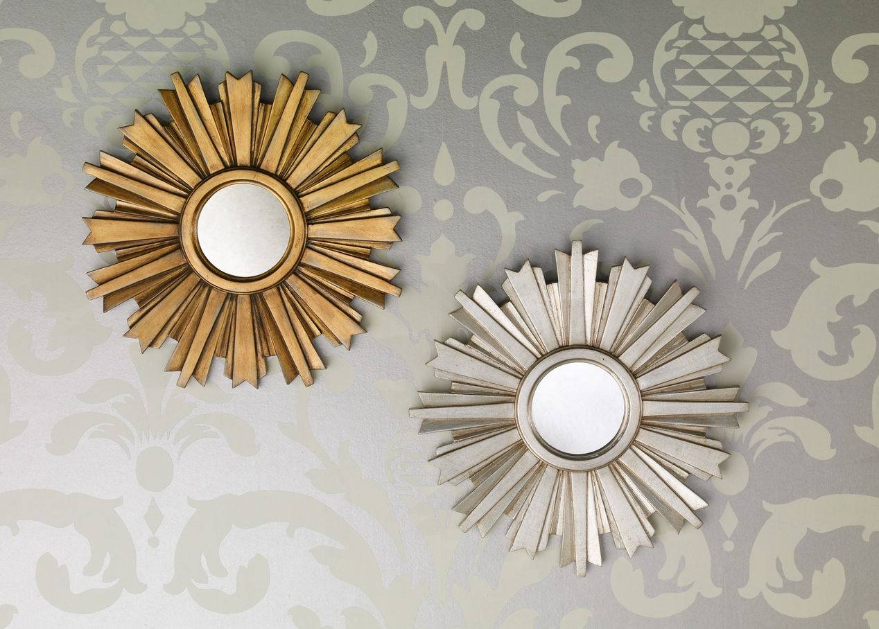 Small Gold Sunburst Mirror 144 Outstanding For Decorative Round inside Small Silver Mirrors (Image 24 of 25)