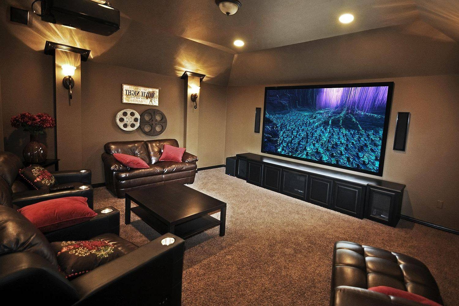 Small Home Theater Room Ideas Red Color Curve Shape Sofas inside Theater Room Sofas (Image 26 of 30)