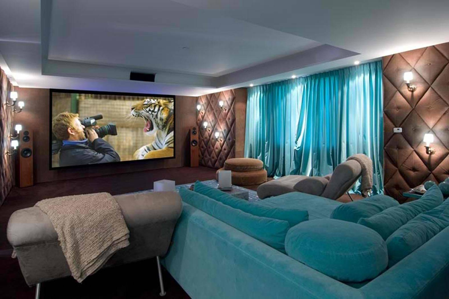 Small Home Theater Room Ideas Simple Wall Lighting Brown Laminate with regard to Theater Room Sofas (Image 27 of 30)