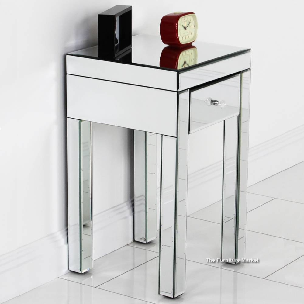 Small Mirrored Side Table, Mirror Top End Table Mirrored Small in Small Table Mirrors (Image 17 of 25)
