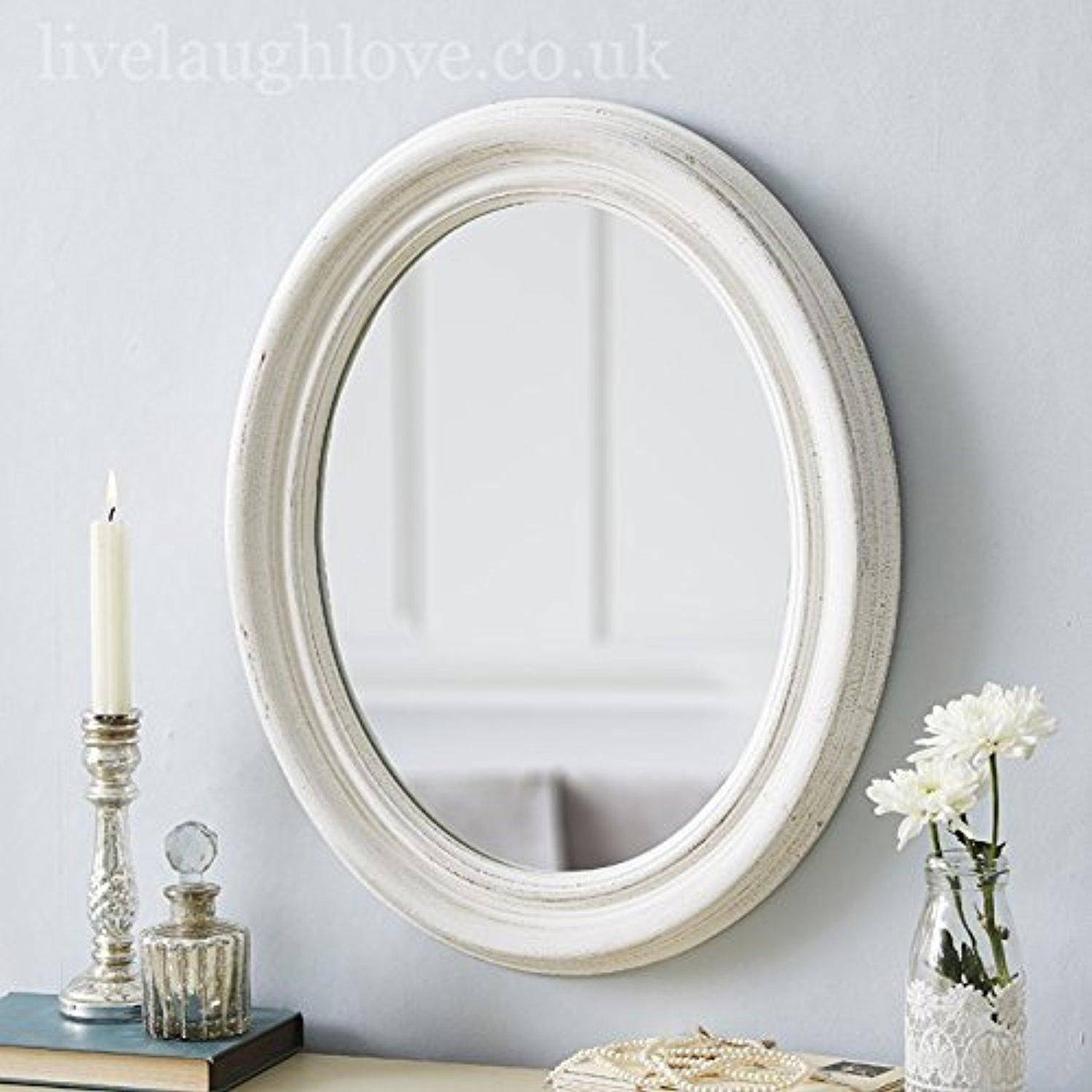 Small Oval Shabby Chic Mirror (White)Live Laugh Love with Oval Shabby Chic Mirrors (Image 21 of 25)