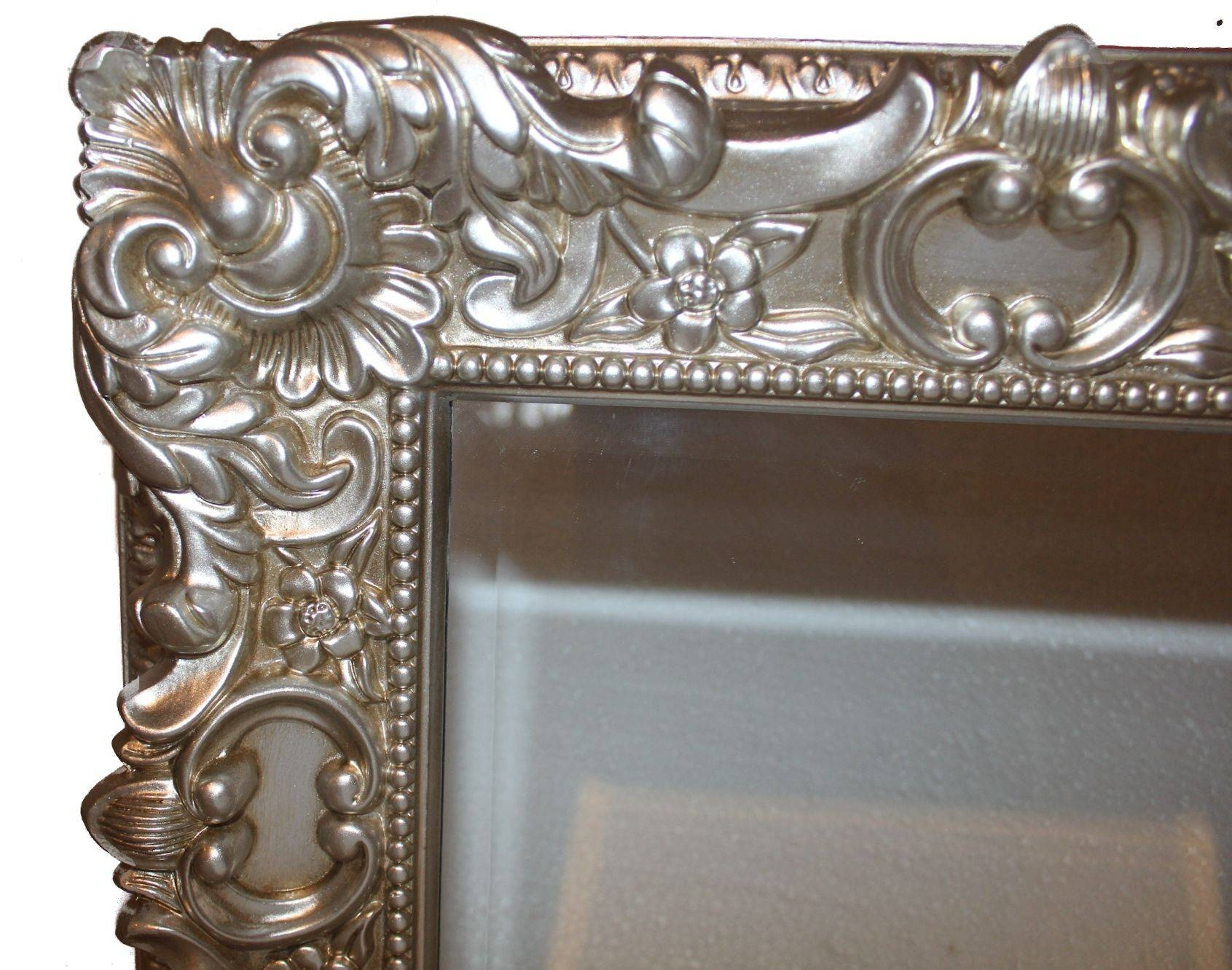 Small Rectanglefrench Ornate Light Silver Gold Baroque Style 40Cm inside Small Ornate Mirrors (Image 23 of 25)