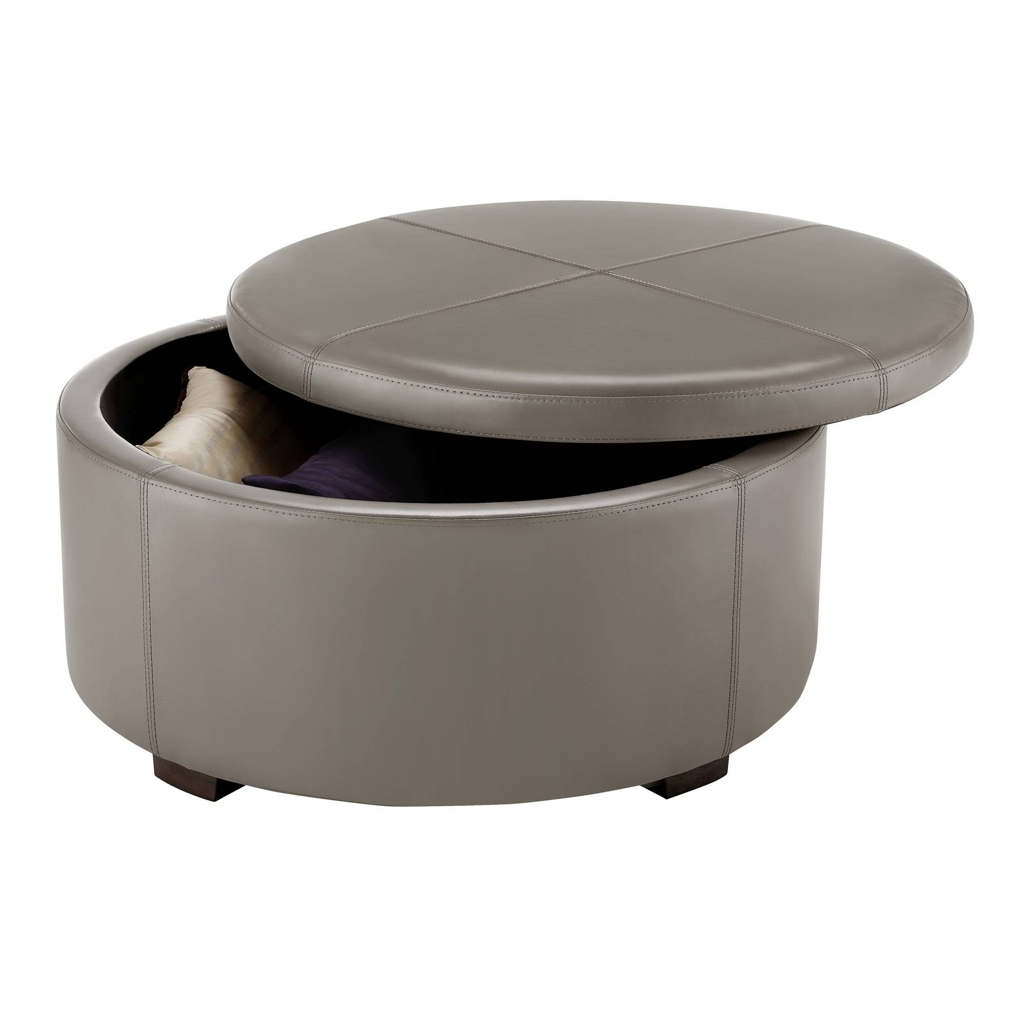 Small Round Leather Coffee Table Storage Ottoman Round Leather within Round Coffee Table Storages (Image 29 of 30)