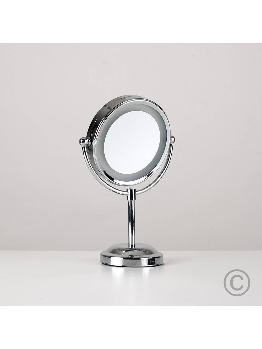 Small Round Light Up Free Standing Mirror | Valuelights For Small Free Standing Mirrors (Photo 10 of 25)