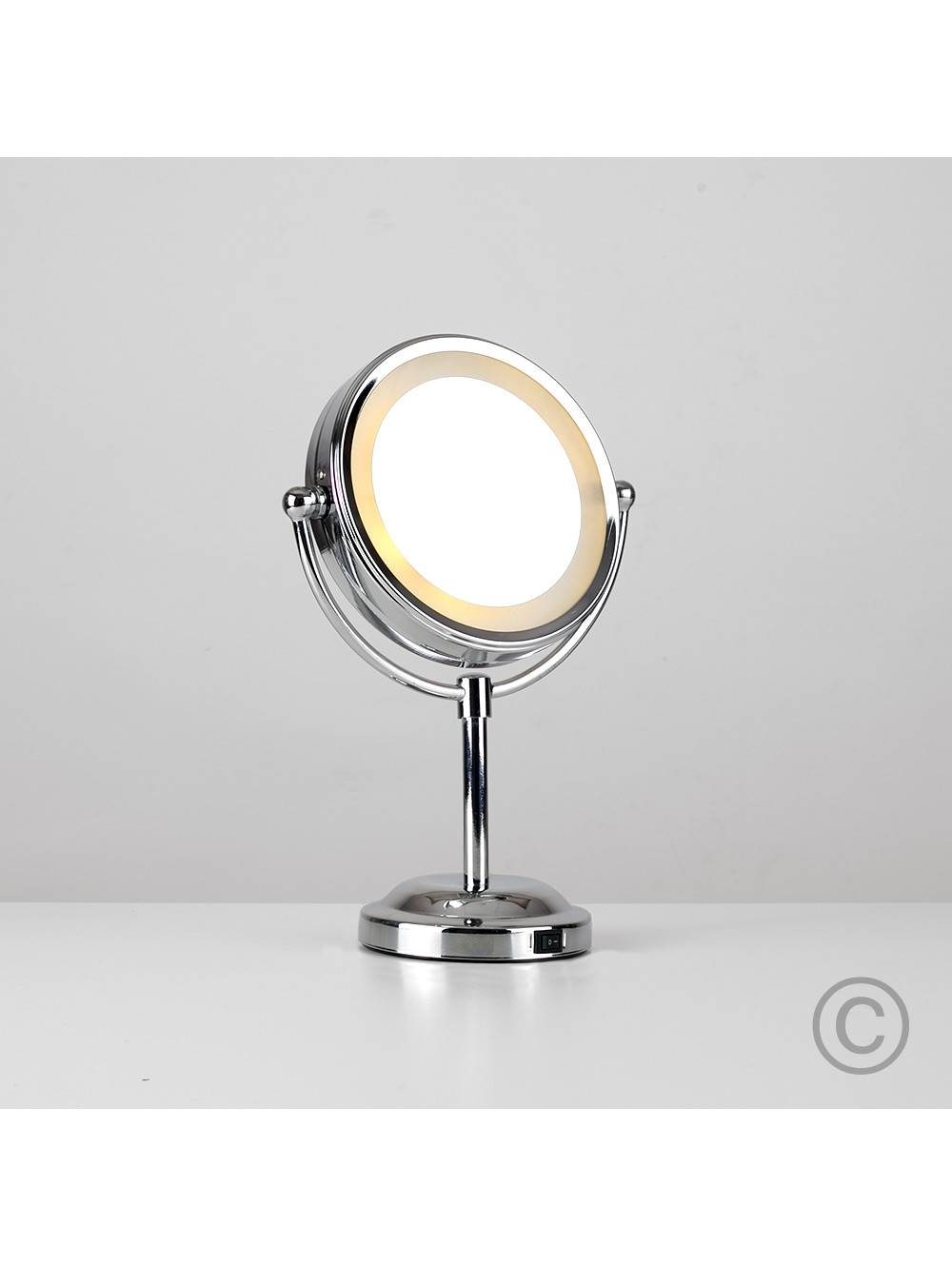 Small Round Light Up Free Standing Mirror | Valuelights regarding Small Free Standing Mirrors (Image 24 of 25)