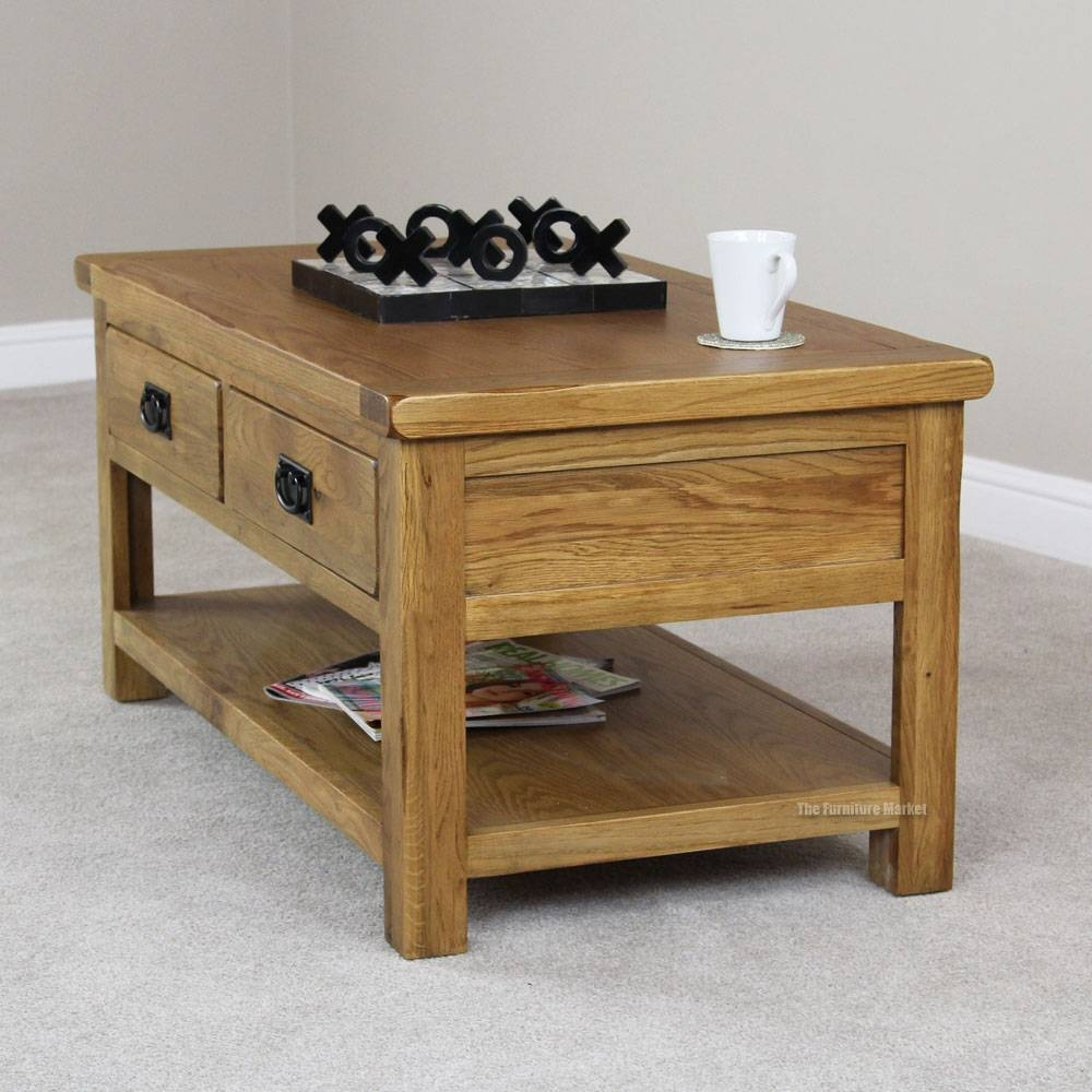 Small Rustic Oak Coffee Table With Drawers | Coffee Tables Decoration with Oak Coffee Tables With Shelf (Image 25 of 30)