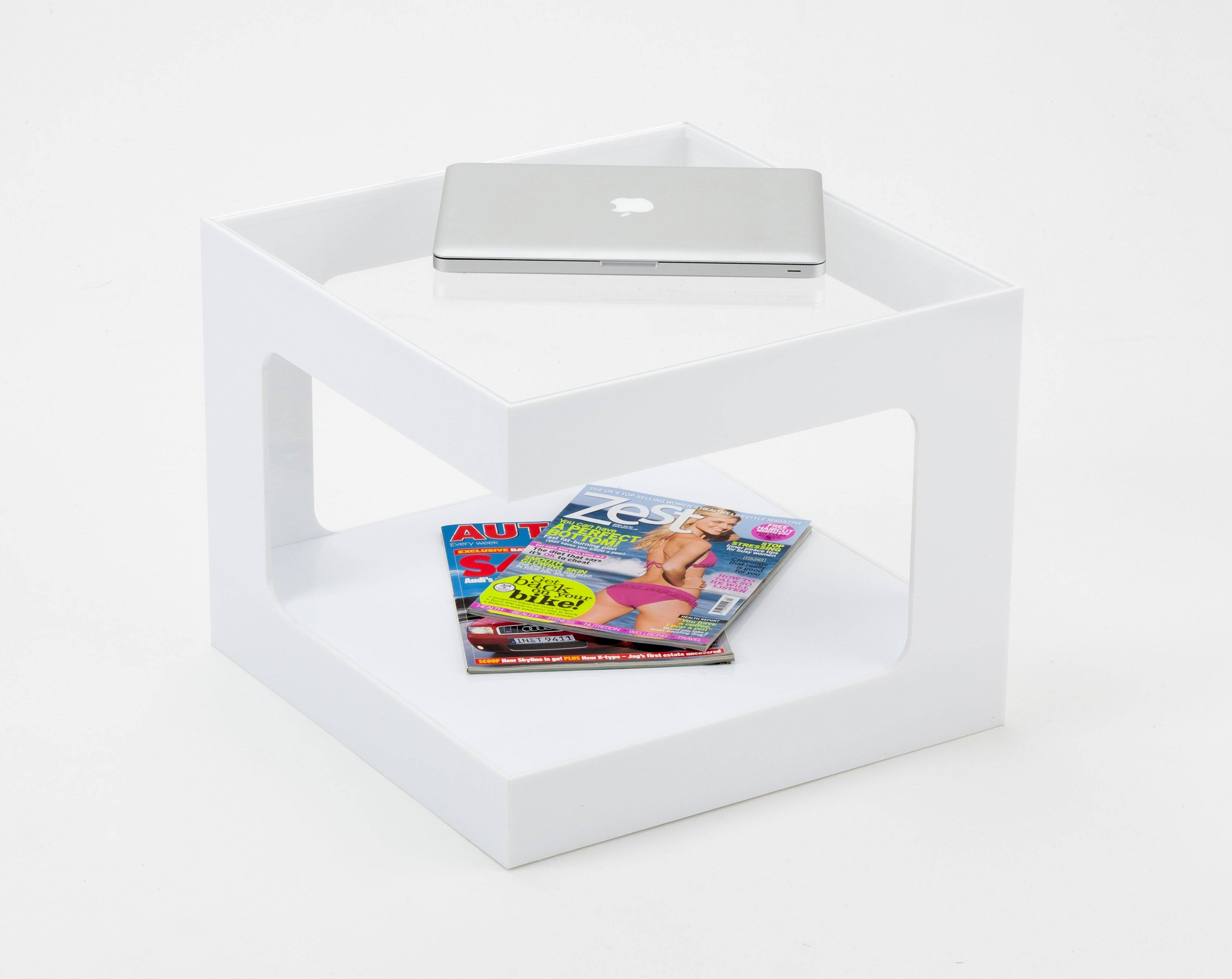 Small Square Clear Acrylic Coffee Table With Magazine Rack for Acrylic Coffee Tables With Magazine Rack (Image 30 of 30)