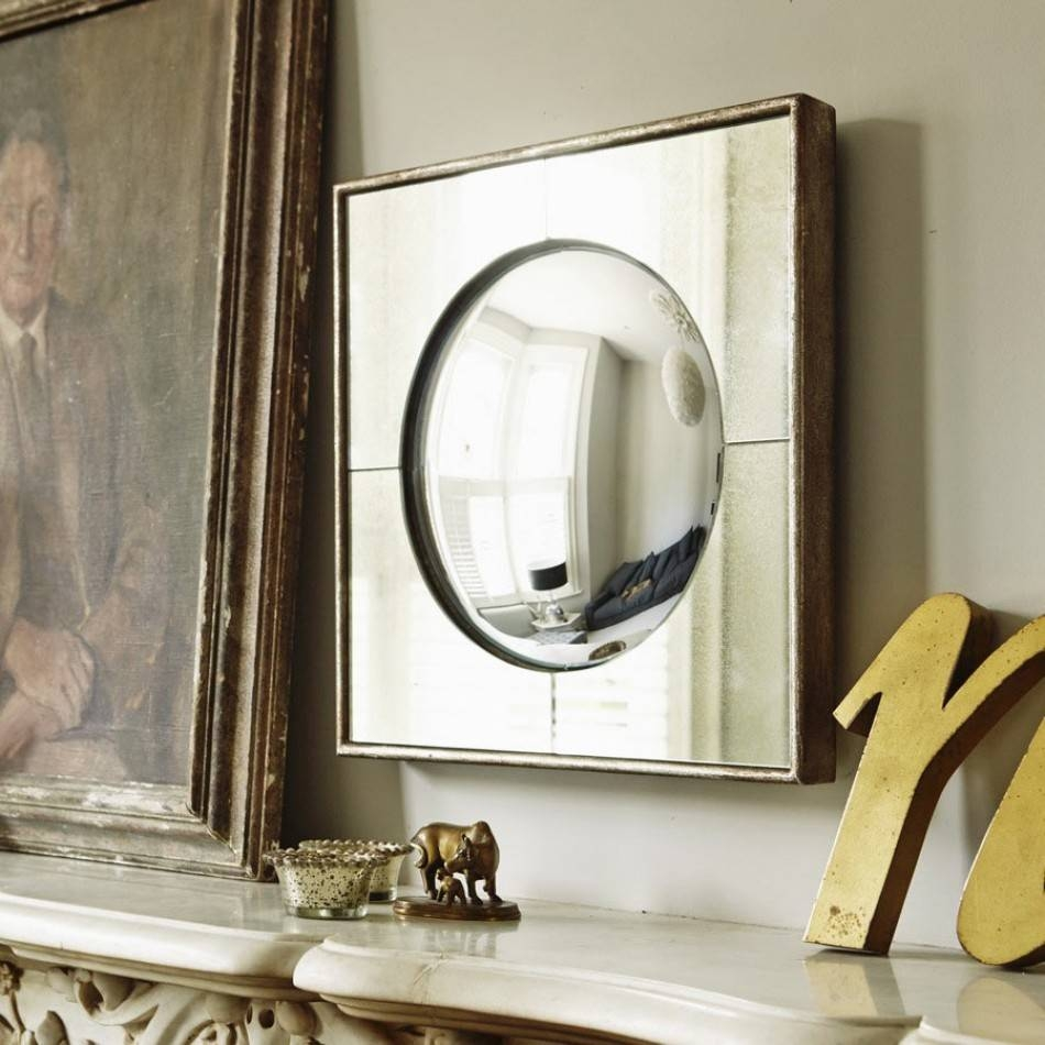 Small Square Framed Round Mirror   Wall Mirrors   Graham & Green intended for Small Convex Mirrors (Image 25 of 25)