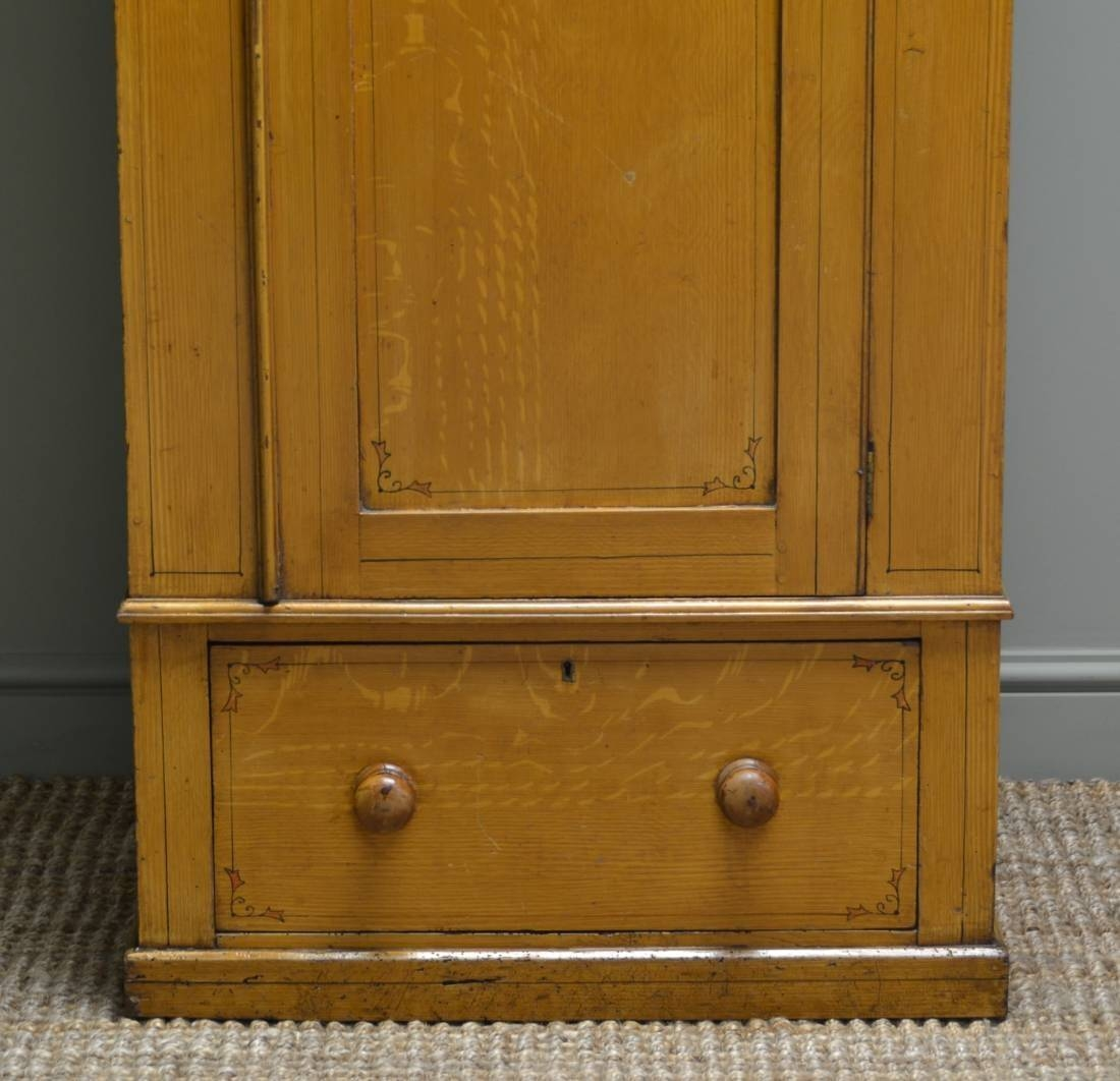 Small Victorian Antique Pine Wardrobe With The Original Paint pertaining to Victorian Pine Wardrobes (Image 7 of 15)
