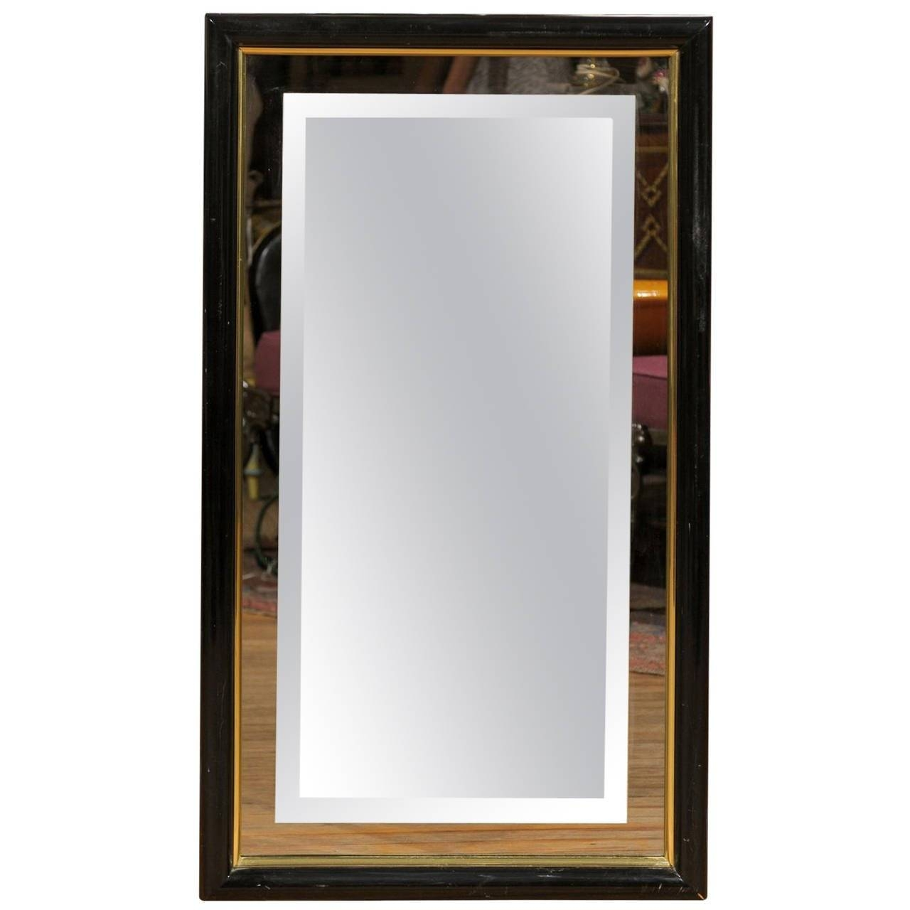Smoked And Beveled Glass Wall Mirror In A Black And Brass Frame inside Black Bevelled Mirrors (Image 13 of 13)