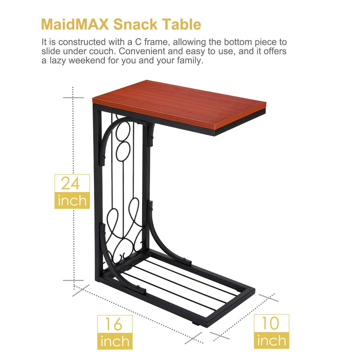 Snack Table, Maidmax 24-Inch-High Coffee Tray Side Sofa End Table with regard to Sofa Snack Tray Table (Image 20 of 30)