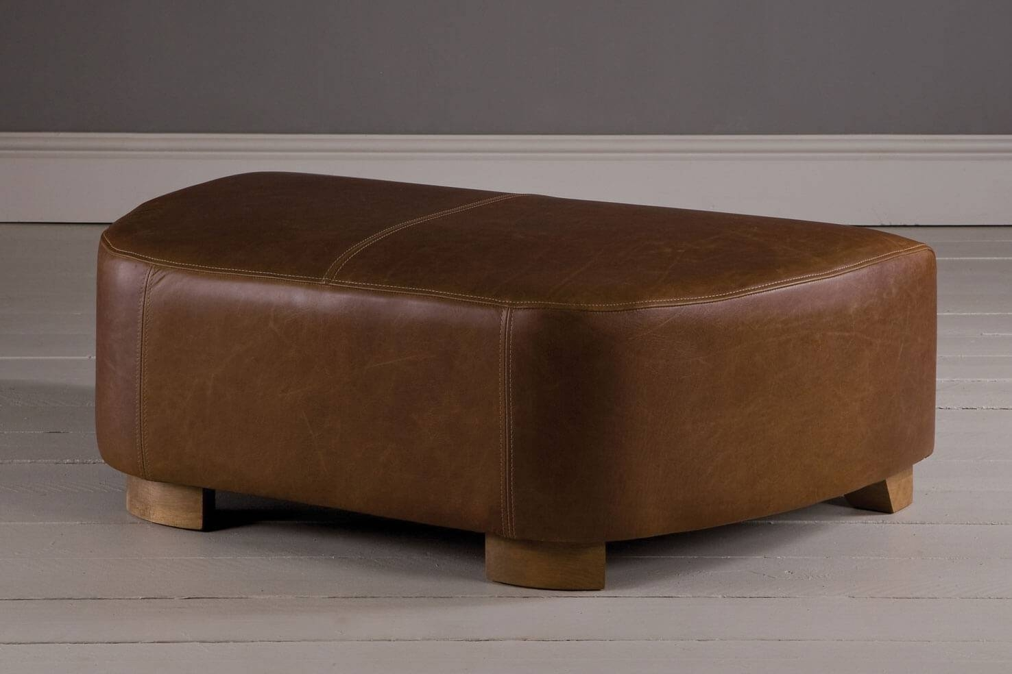 Snuggler Leather Footstool, Handcraftedindigo Furniture with Leather Footstools (Image 26 of 30)