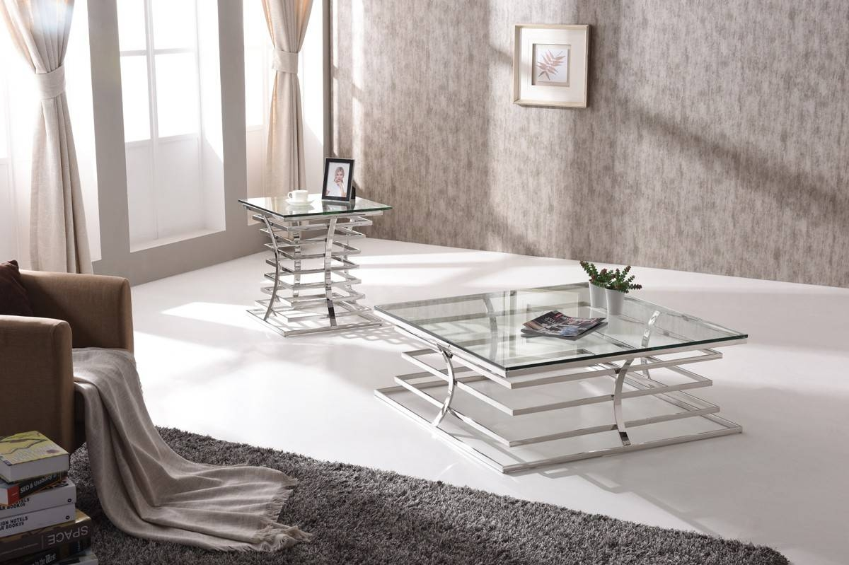 Snyder Modern Square Glass Coffee Table throughout Modern Square Glass Coffee Tables (Image 11 of 15)