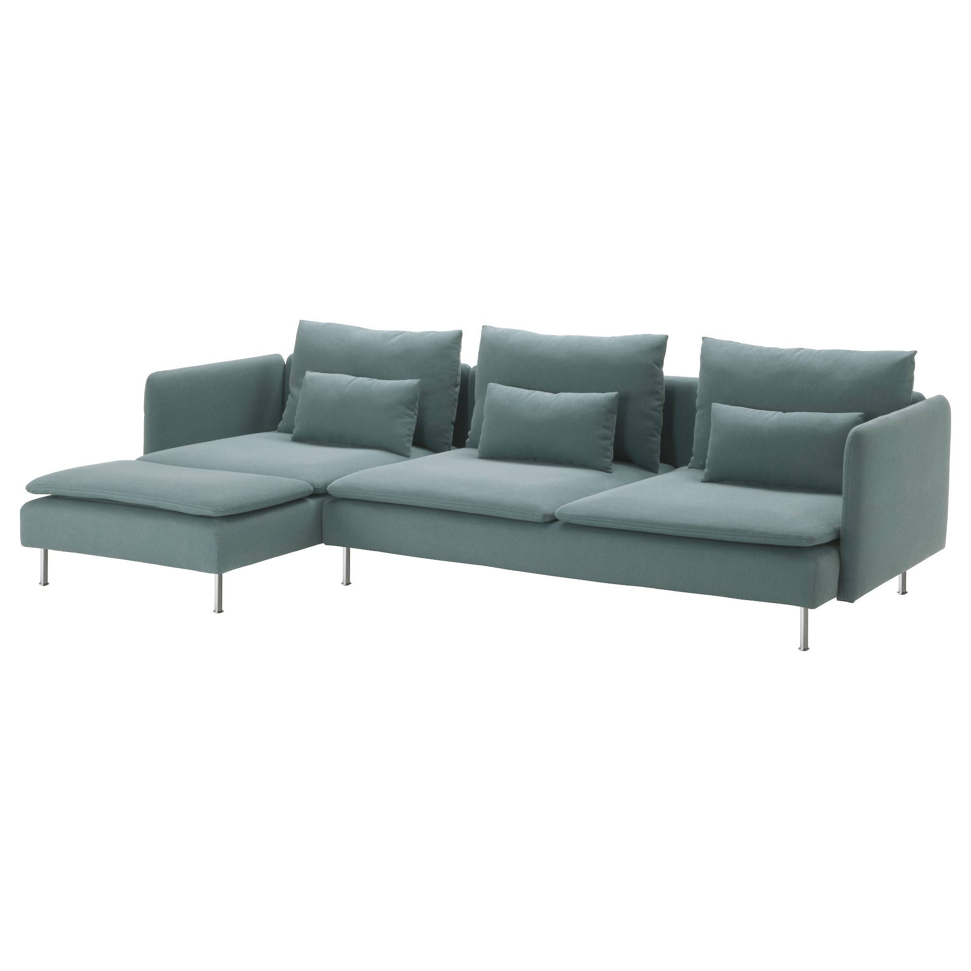 Söderhamn Three-Seat Sofa And Chaise Longue Finnsta Turquoise - Ikea inside 4 Seat Couch (Image 28 of 30)