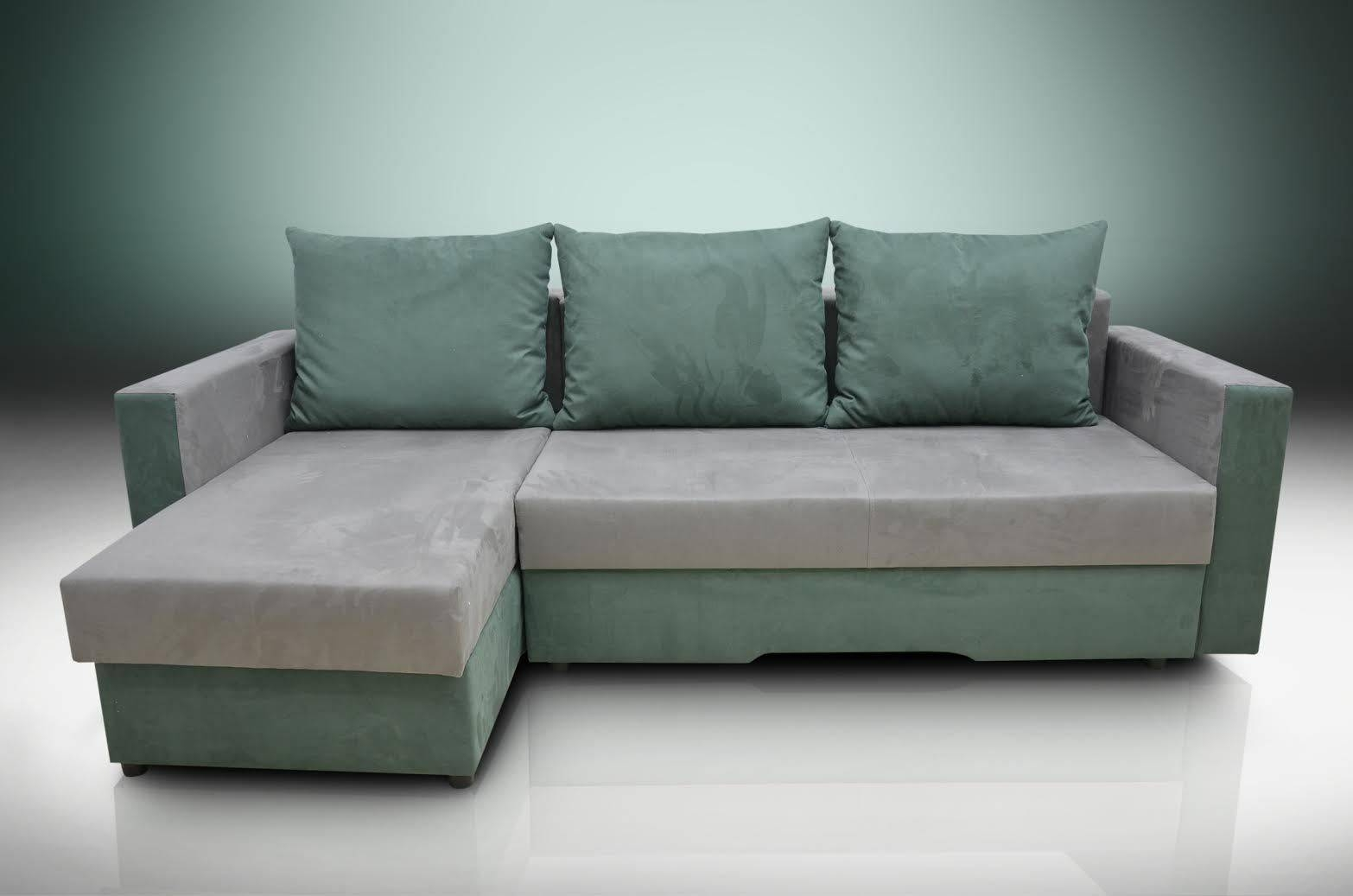 Sofa Bed Bristol Grey/forest Green Faux Suede Fabric throughout Faux Suede Sofa Bed (Image 22 of 25)