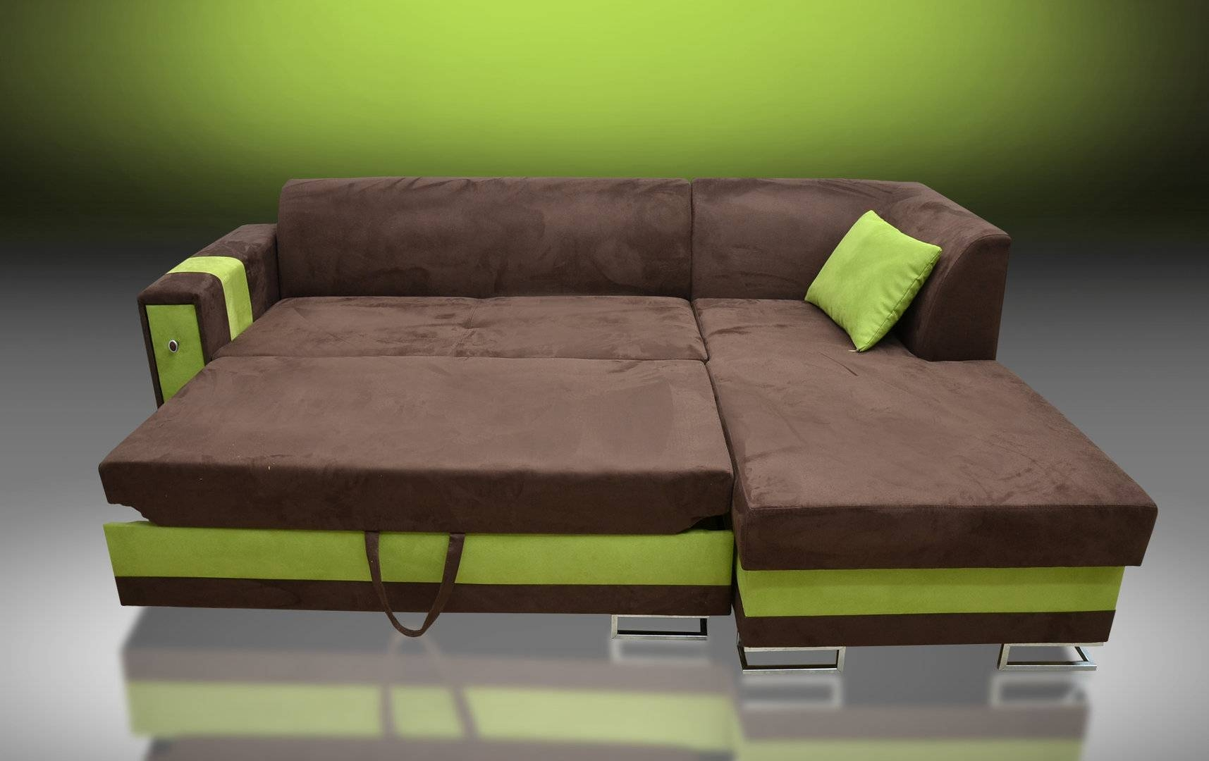Sofa Bed Flame, Faux Suede Fabric Brown/kiwi Green throughout Faux Suede Sofa Bed (Image 23 of 25)