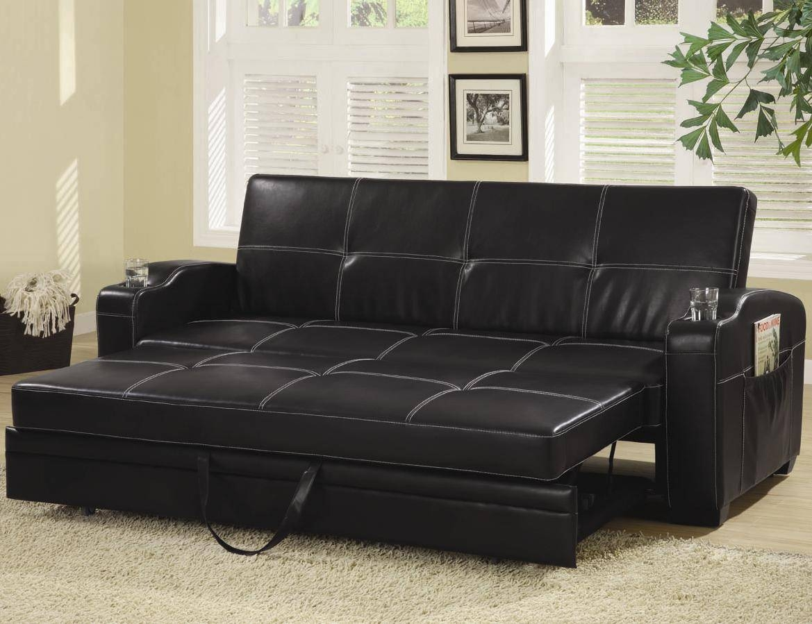Sofa Beds And Futons - Faux Leather Sofa Bed With Storage And Cup inside Leather Sofa Beds With Storage (Image 25 of 30)