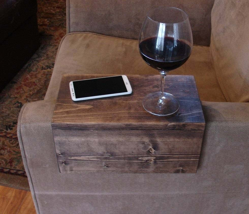 Sofa Chair Arm Rest Tray Table Stand With Side Storage Slot pertaining to Sofa Drink Tables (Image 26 of 30)