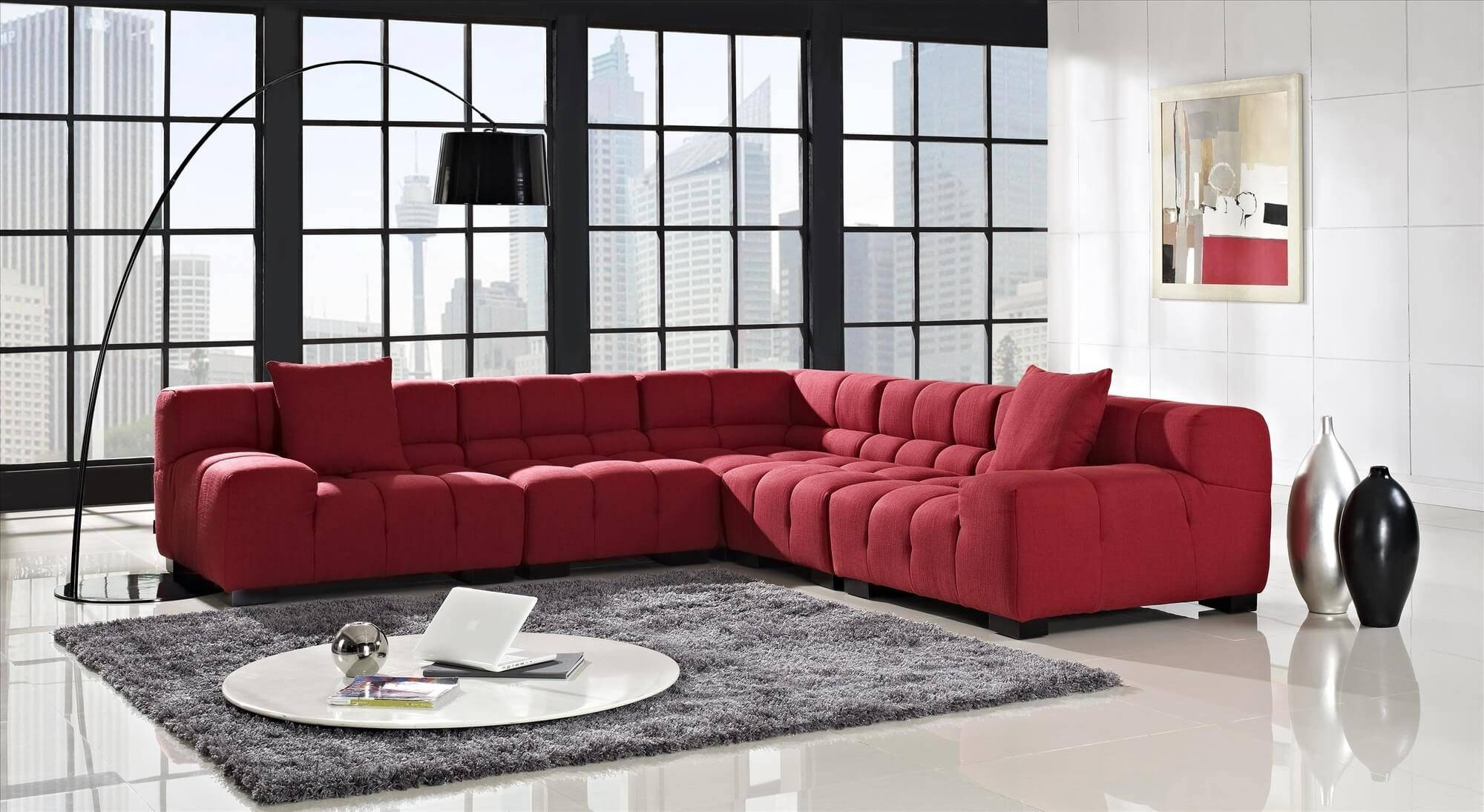 Sofa: Comfort And Style Is Evident In This Dynamic With Tufted Inside Red Sectional Sleeper Sofas (Photo 12 of 30)