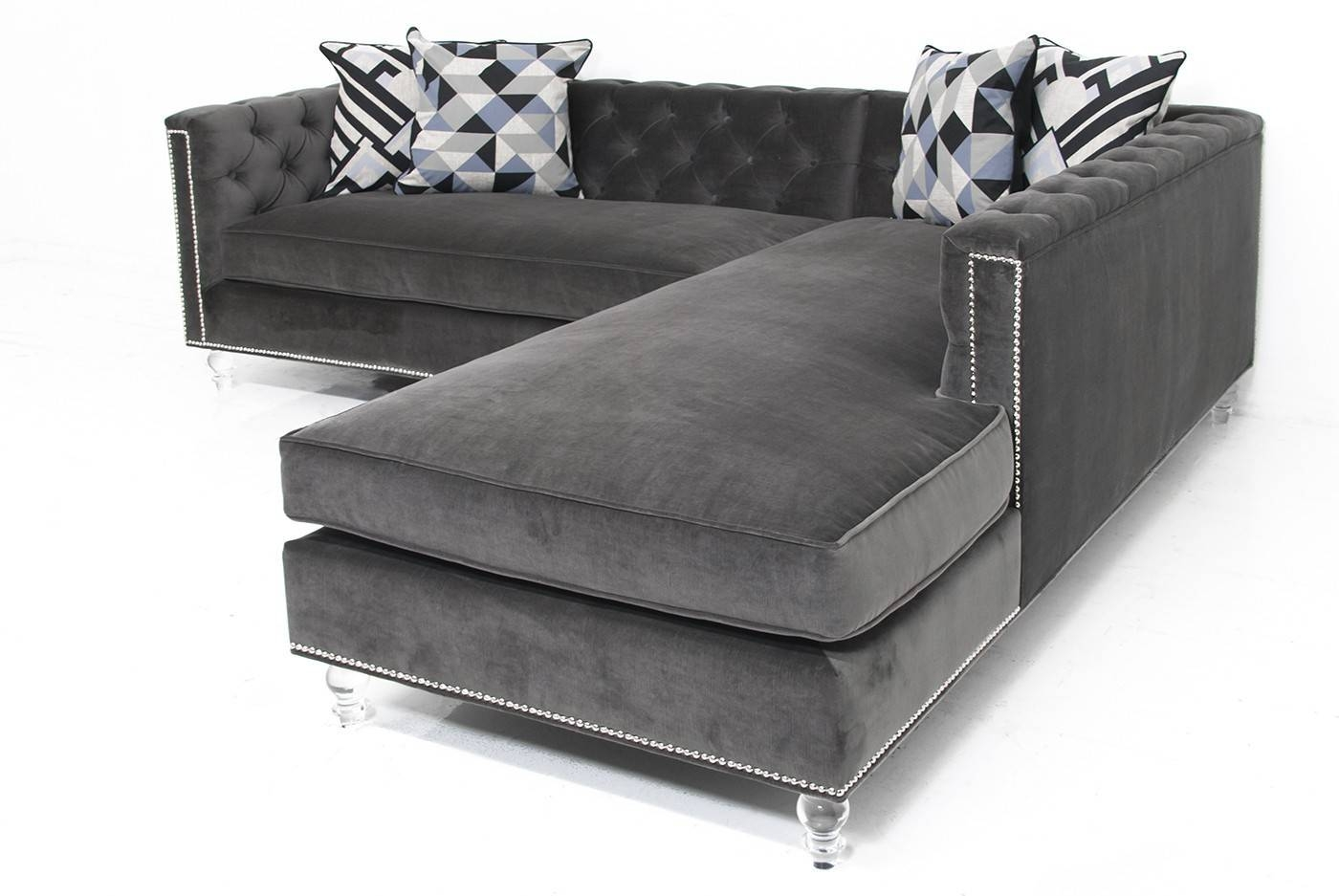 Sofa: Comfort And Style Is Evident In This Dynamic With Tufted throughout Velvet Sofas Sectionals (Image 17 of 25)