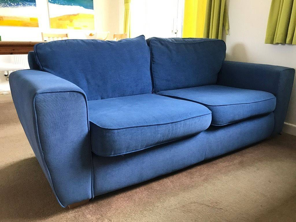 Sofa Comfy Blue Fabric 3 Seater Sofa With Removable Covers | In intended for Sofas With Removable Covers (Image 21 of 30)